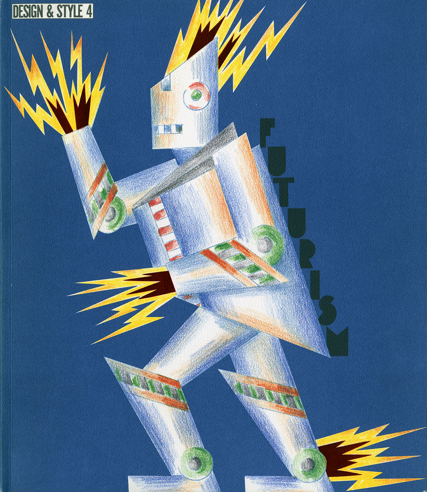 Colored pencil drawing of a robot with electricity emanating from him, against a blue background.