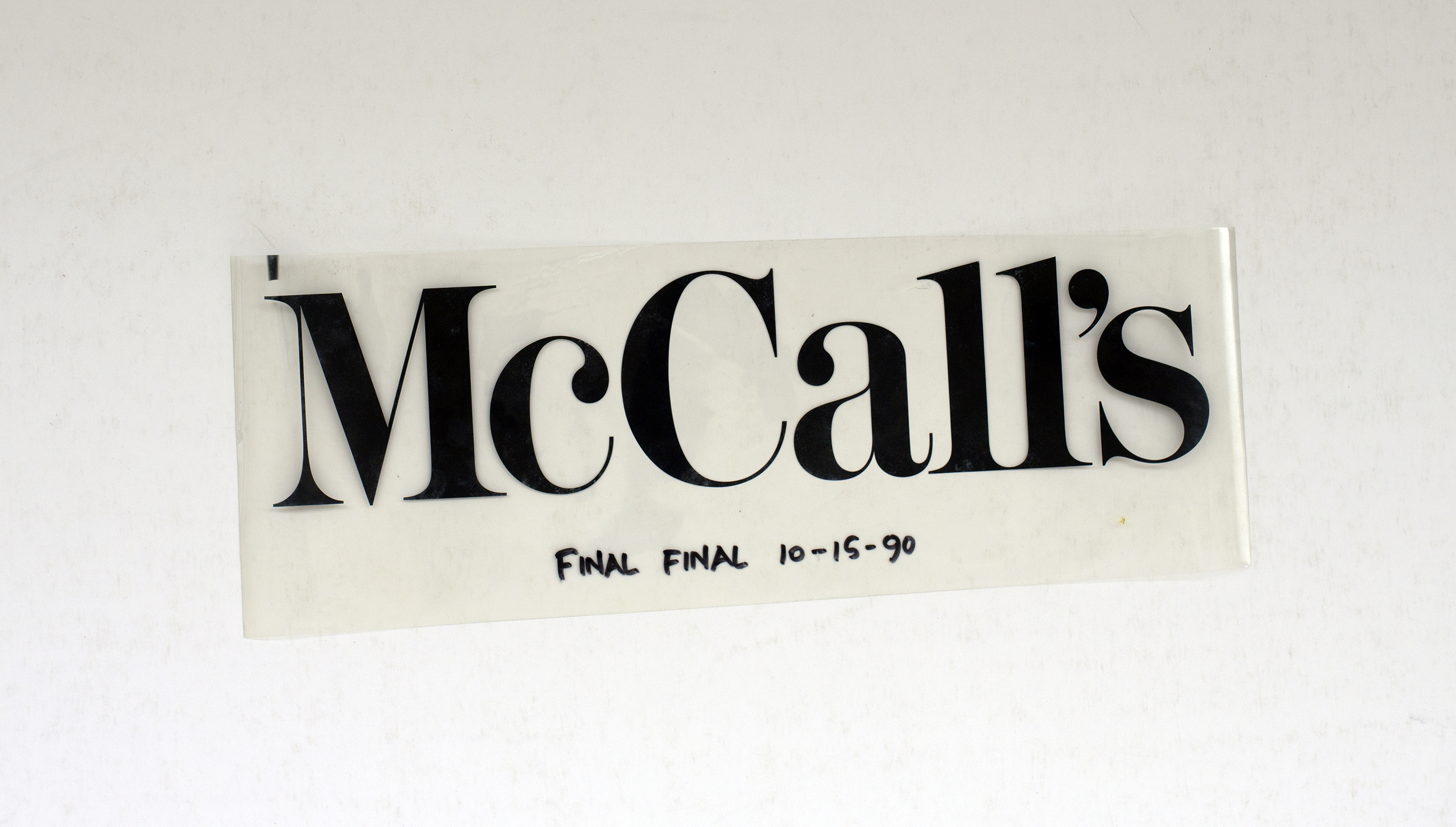 Text: McCall's, final final 10-15-90. Black against white background