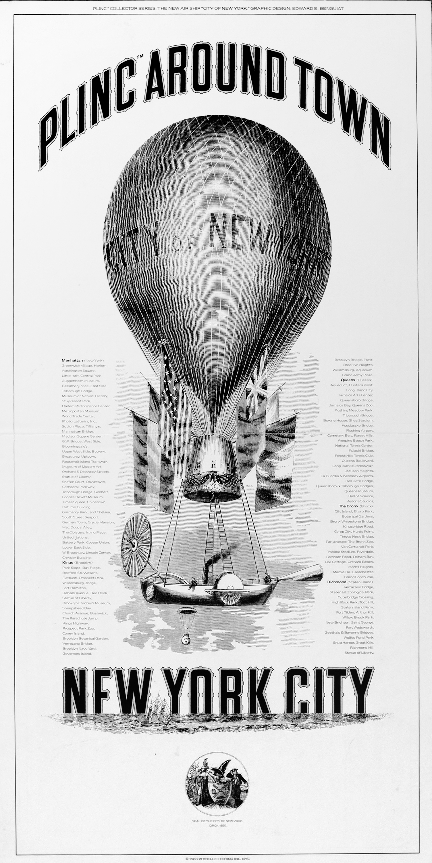 "Detailed, black and white illustration of a Victorian-style hot air balloon over the ocean. The words ""New York City"" appear over the horizon."
