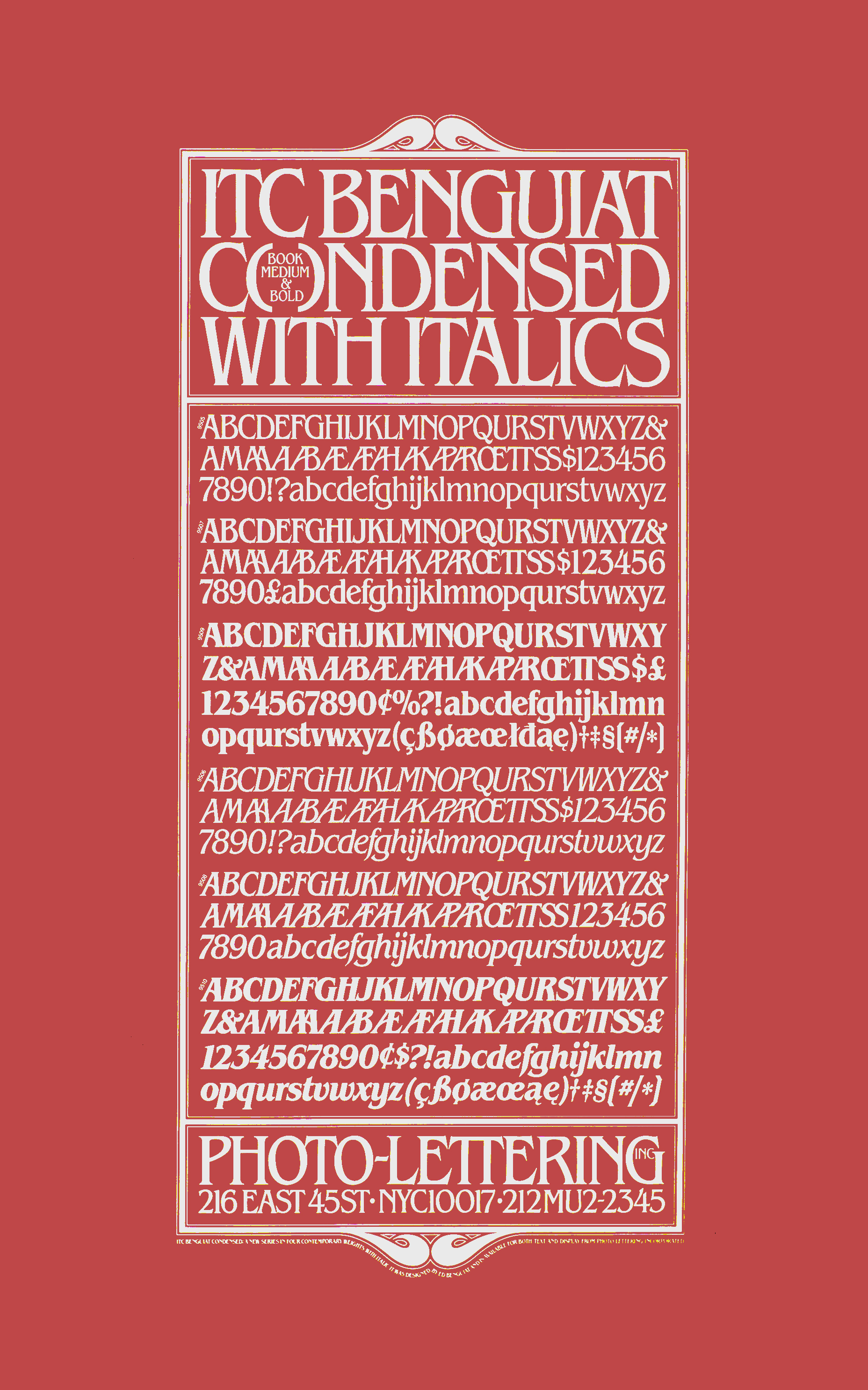Glossary of ITC Benguiat characters in an ornate box; white against red background.