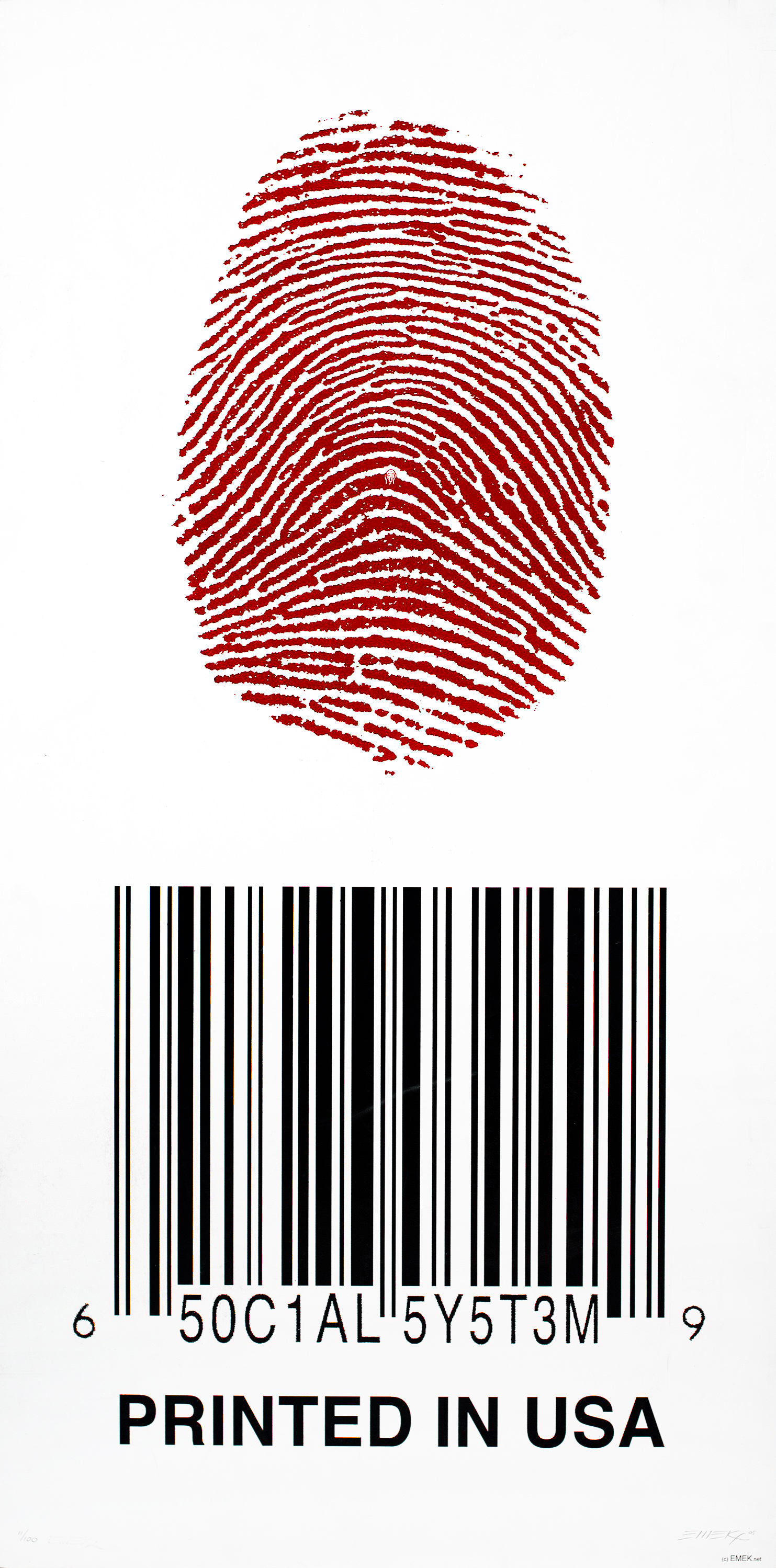 "A large red fingerprint and a black barcode are arranged vertically against a white background. In the middle of the fingerprint is a very small copy of the face from Edvard Munch's ""The Scream."""