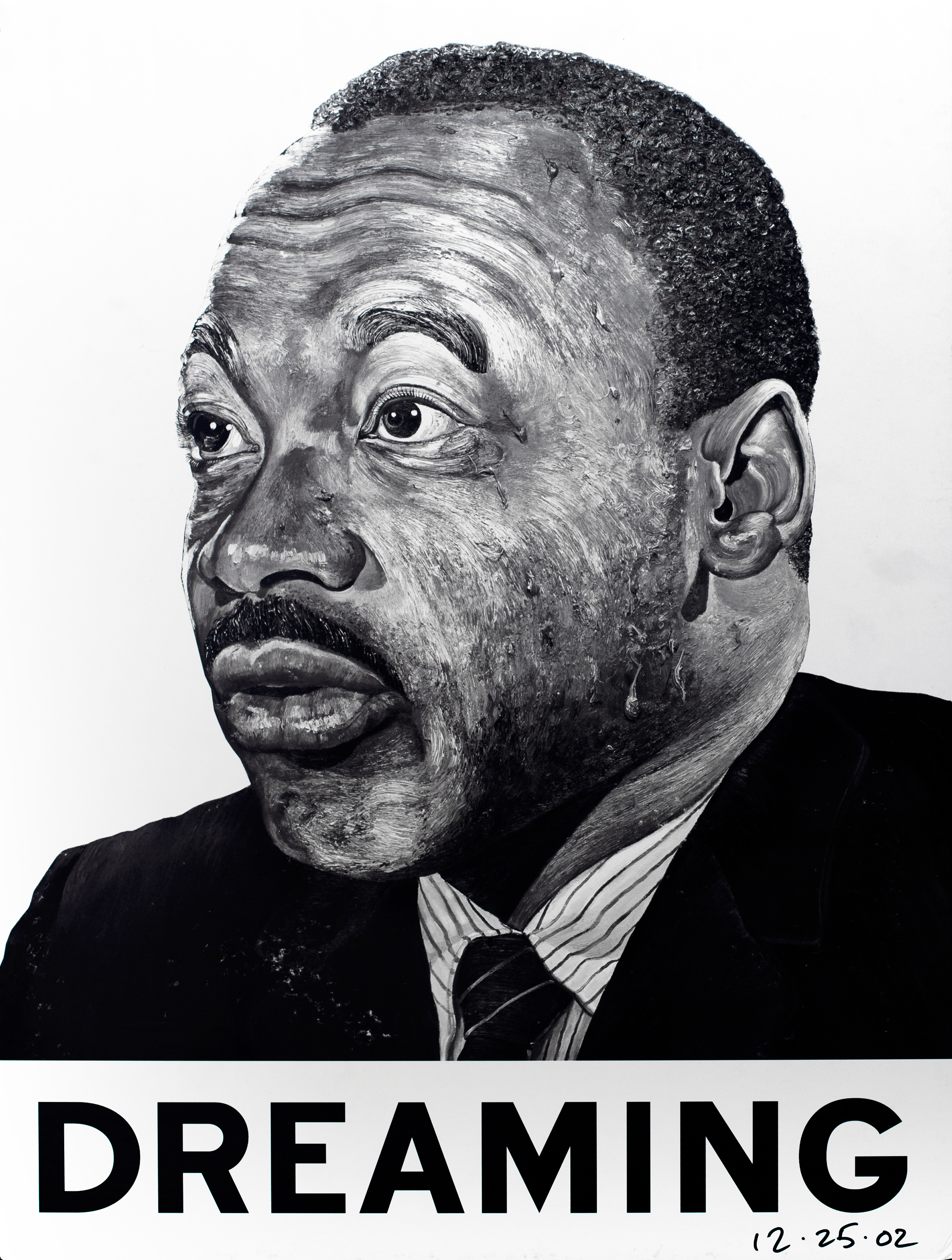 "A detailed, black-and-white painting of Martin Luther King Jr.'s head, with the word ""Dreaming"" below it in black text against a white background."