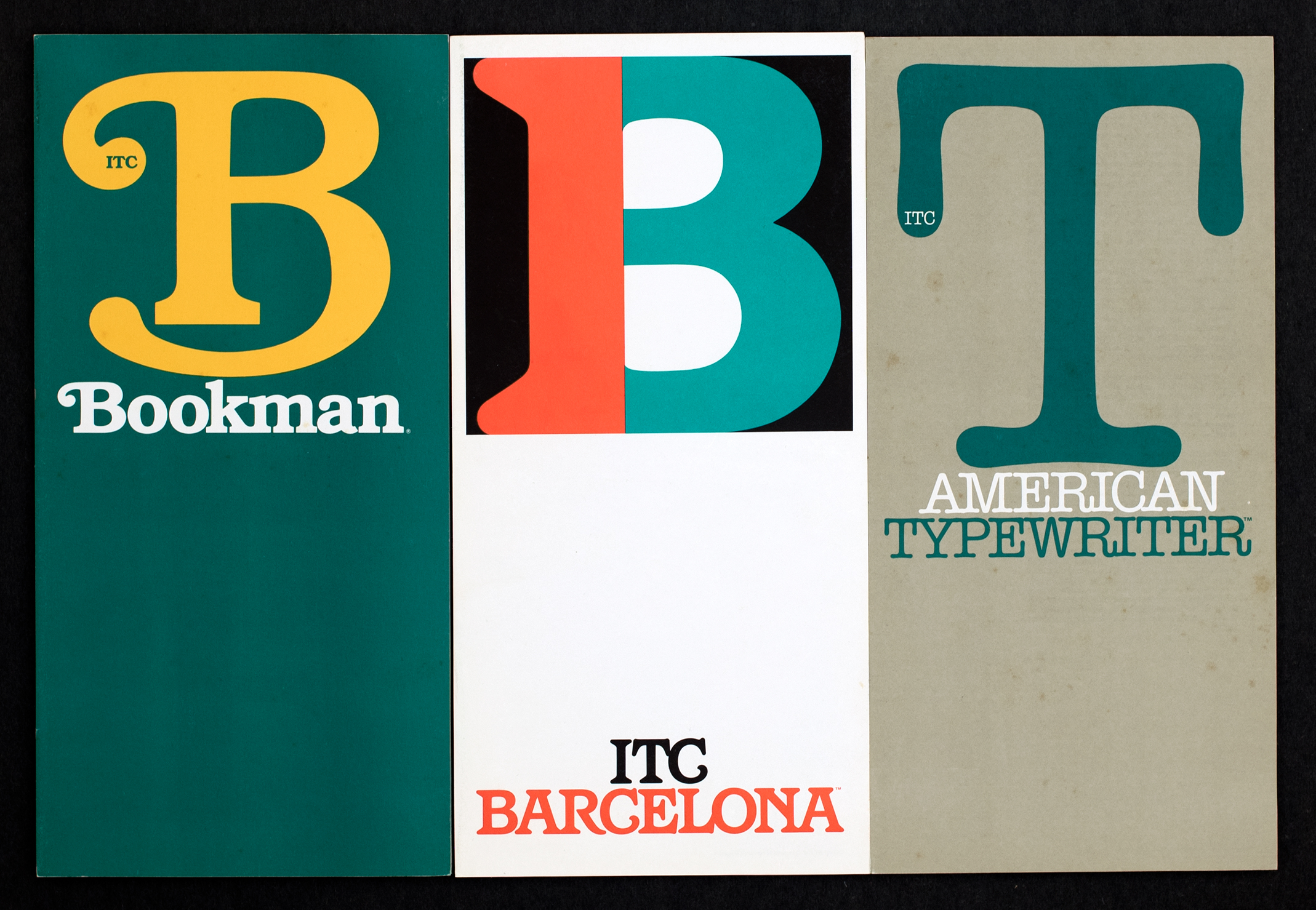 On a segmented background, three fonts are compared side by side. Bookman is yellow against blue, Barcelona is orange and blue against white, and typewriter is blue against grey.