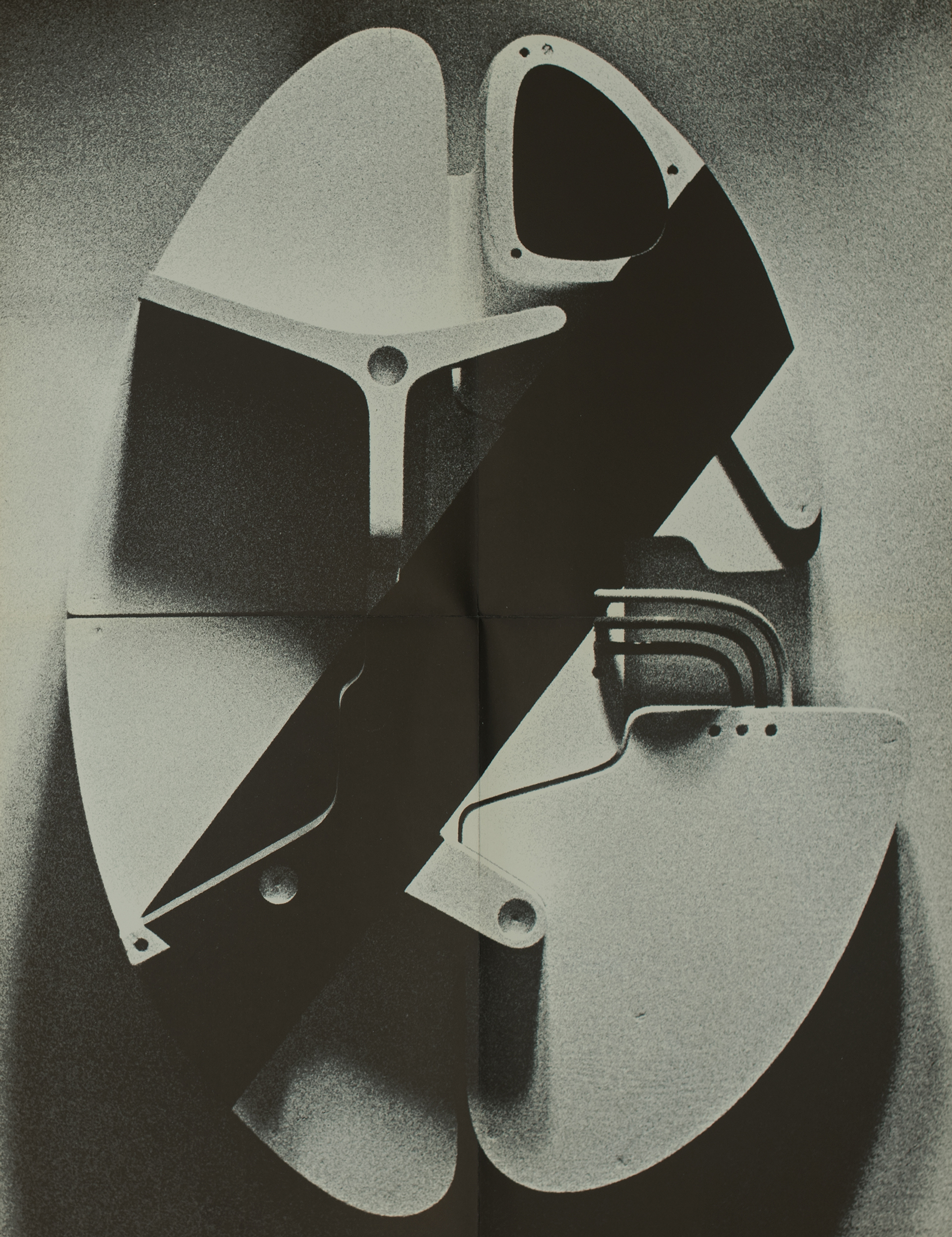 Poster features a grainy, black and white photograph of an abstract sculpture.