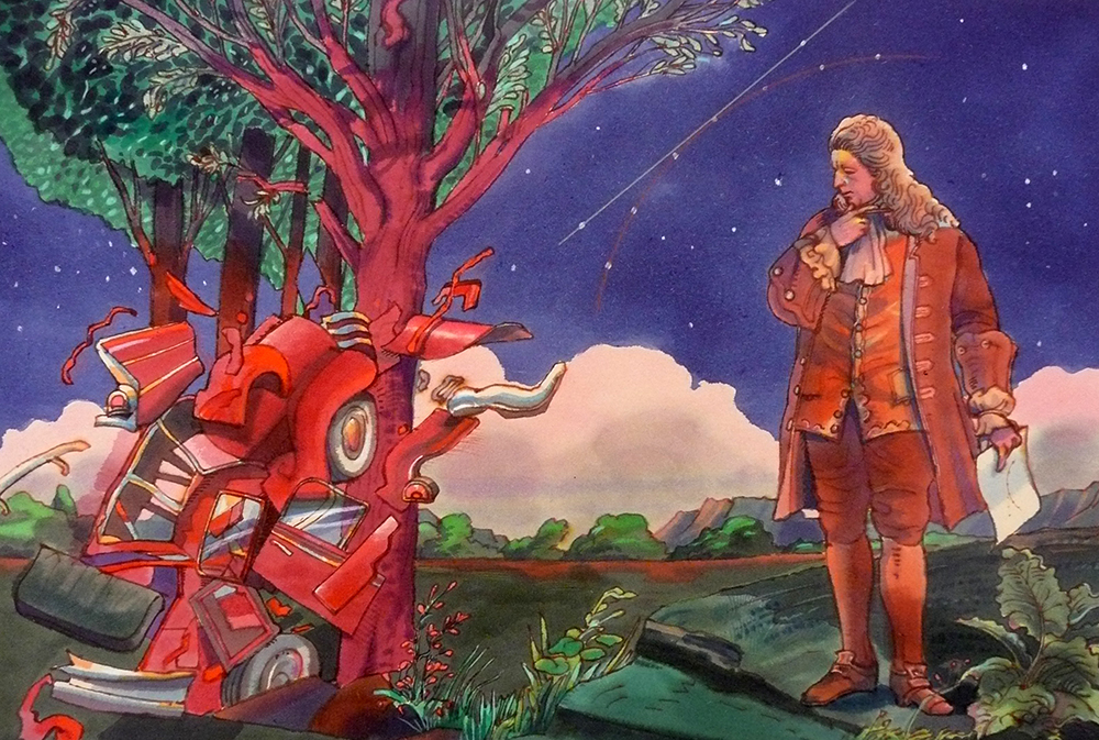 Colorful illustration of a Isaac Newton contemplating a car that has hit a nearby tree, a constellation behind him mirrors a drawing of a curve an a tangent in his hand..