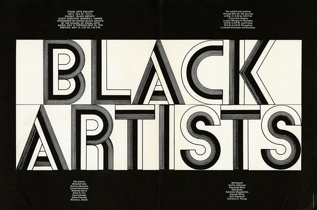 "The phrase ""Black Artists"" appears in swirly, black and white font against black and white background."