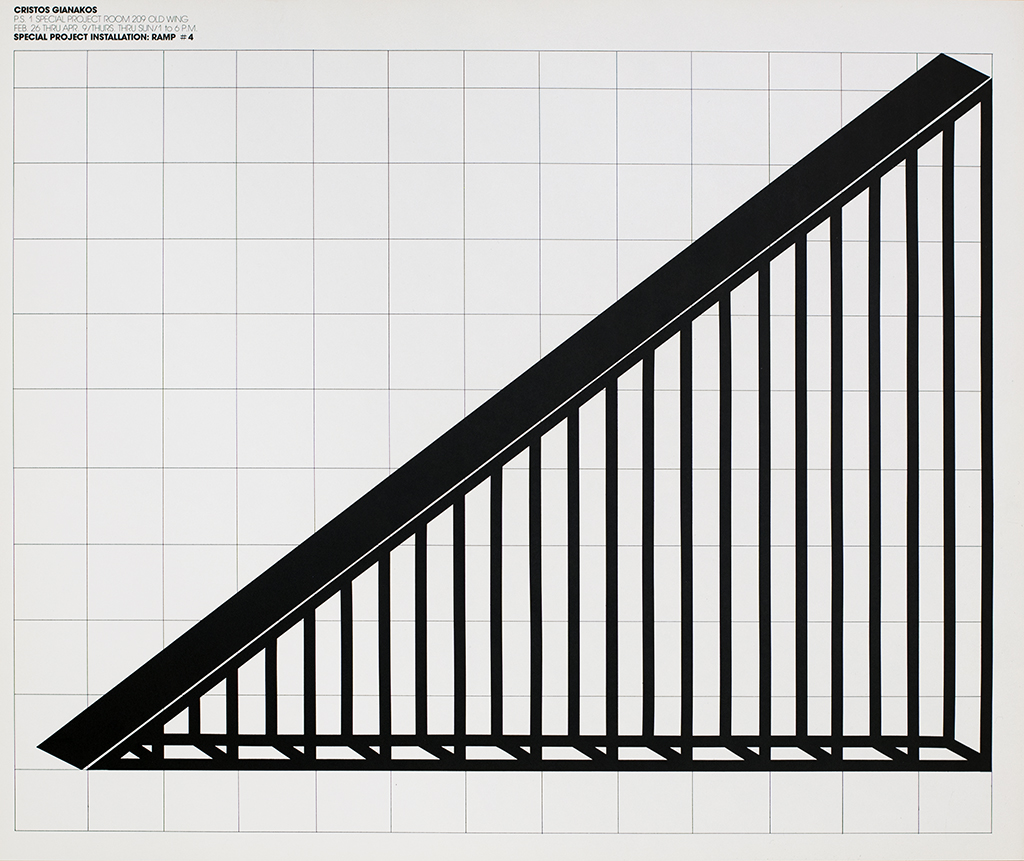 Geometric graphic of a black ramp against white graph paper.