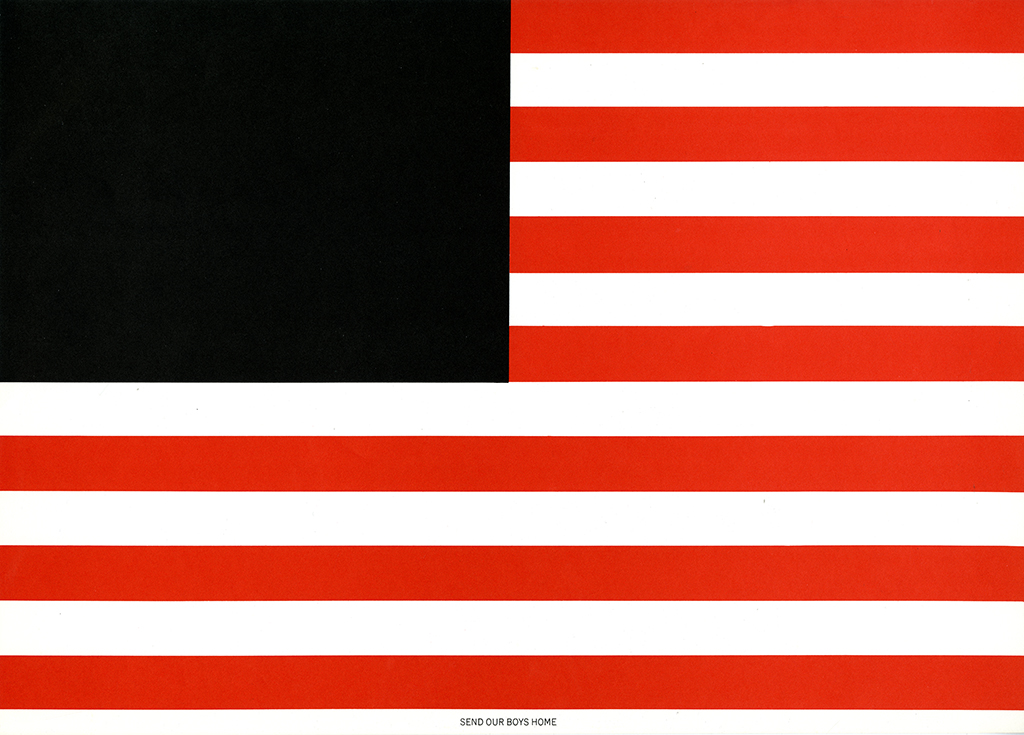 American flag graphic; blue segment is replaced by a solid black square.