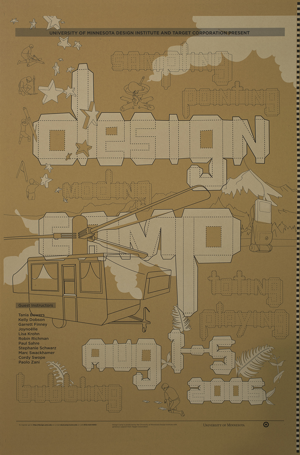 Brown poster with line drawings of strange camping-related items (a camper with helicopter rotors, a skillet on a campfire cooking a lightbulb, a giant iPod in a backpack).