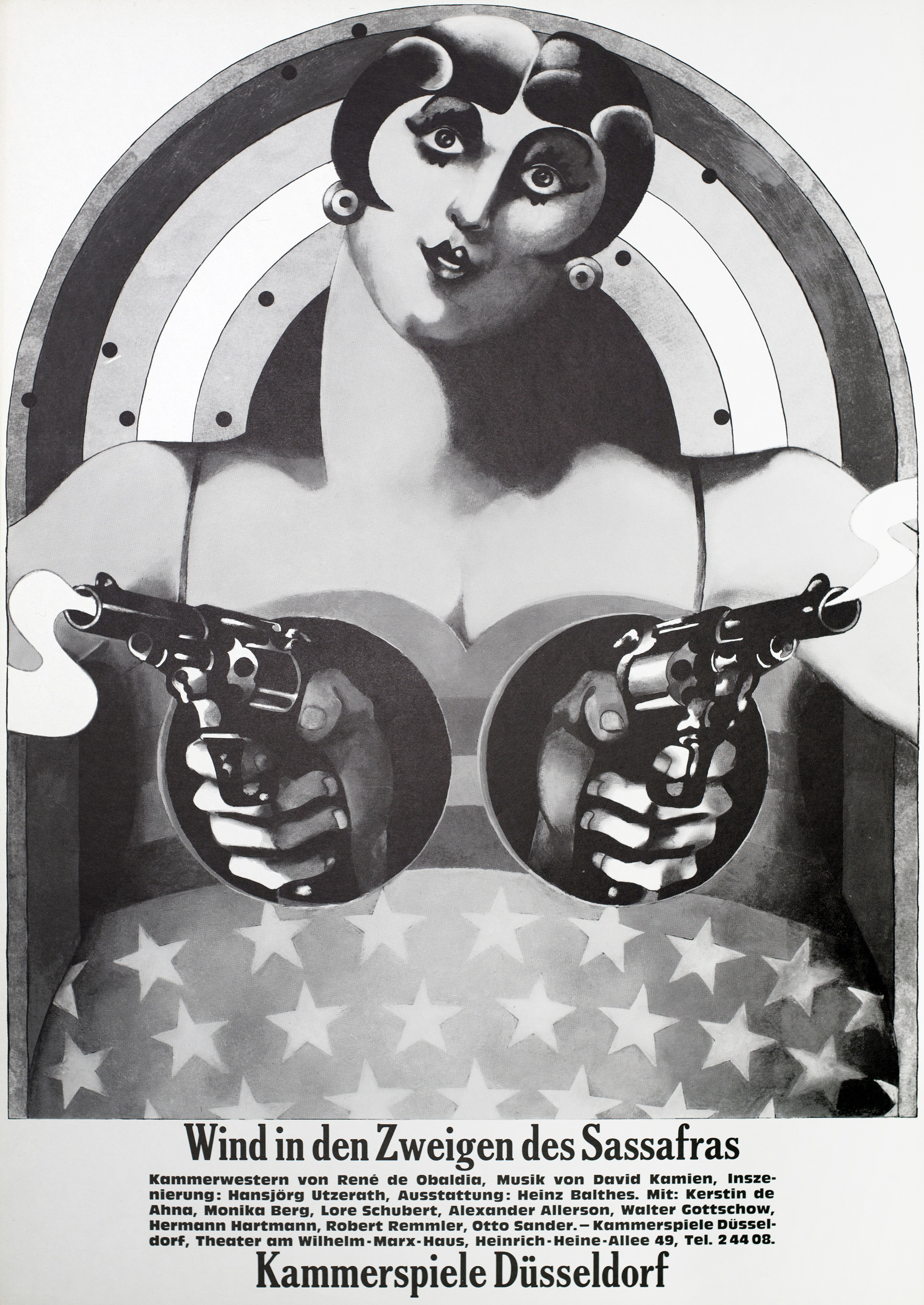 Black and white illustration of a cutout of a woman, with two hands holding smoking pistols extend out of holes cut out where her breasts would be.