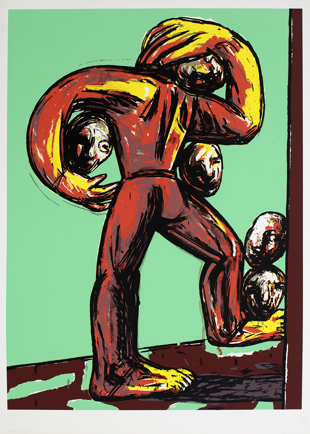 Painting of a stylized figure in orange and yellow holding several heads against a teal background.
