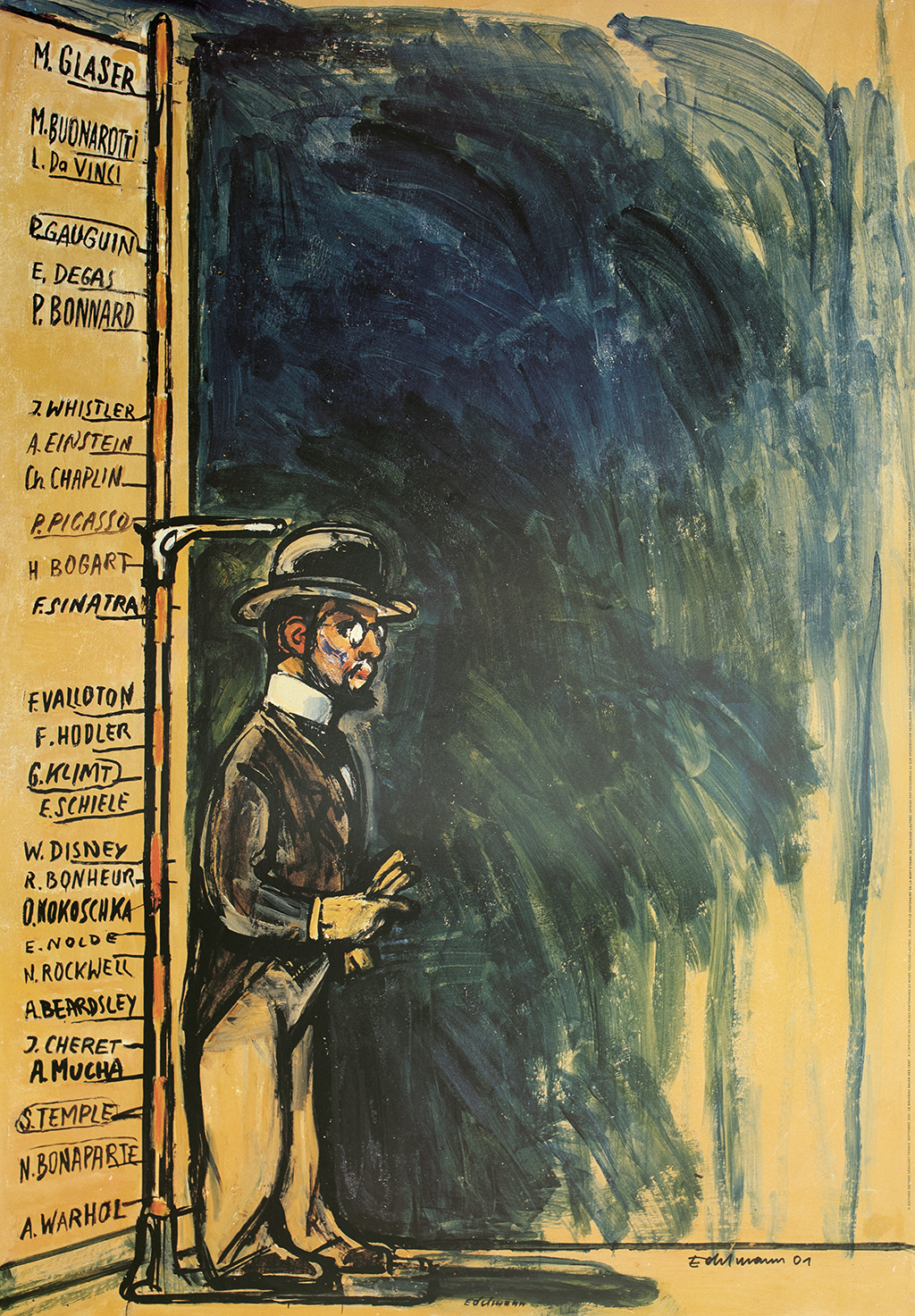 Painting of Toulouse-Lautrec standing against a measuring device. The wall behind him depicts the relative heights of notable artists and cultural figures.