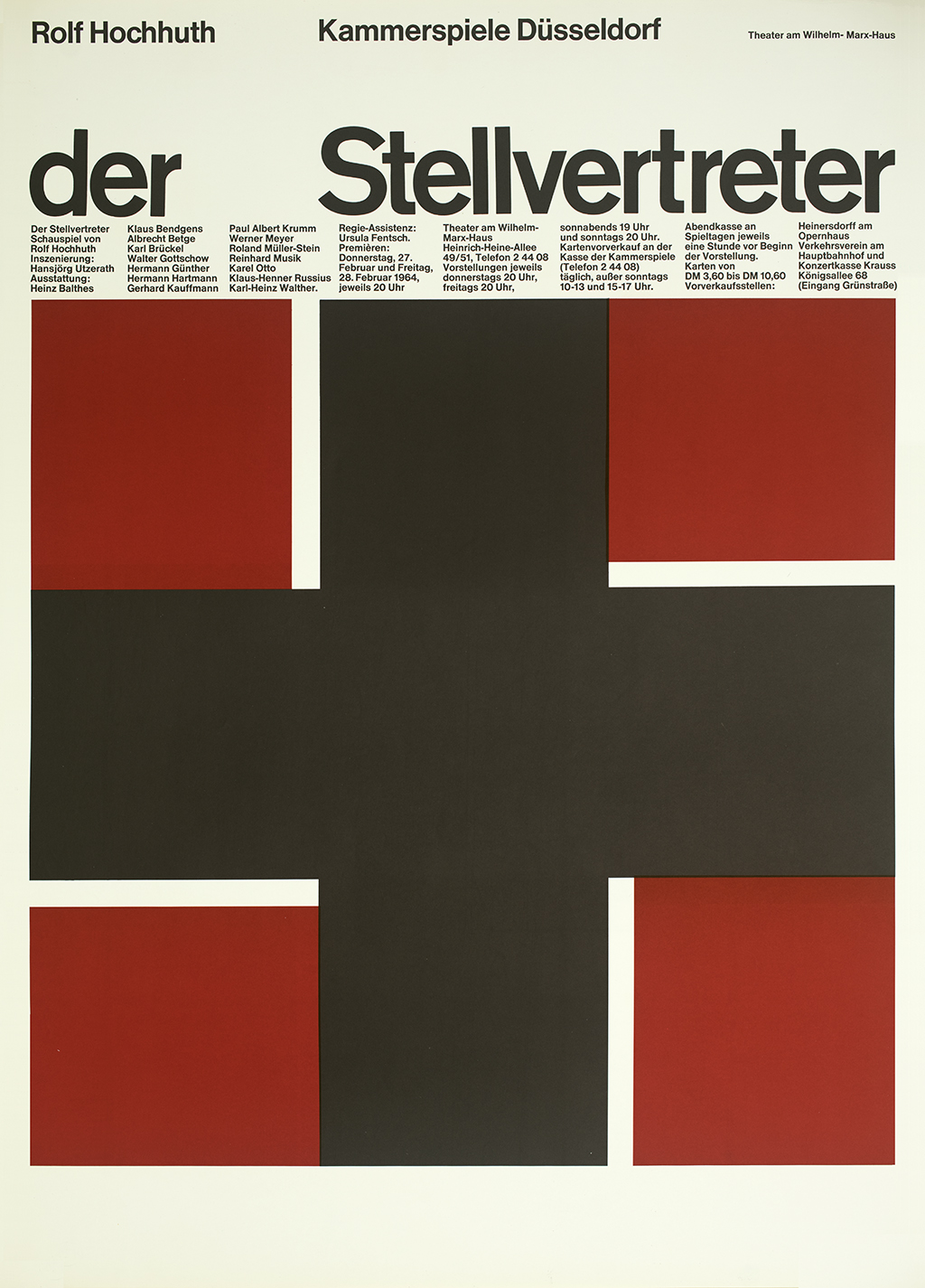 Block print of a black plus sign with four red squares arranged to suggest a swastika.