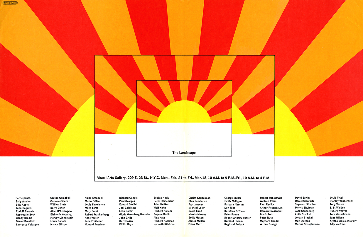 Three nested illustrations of the same geometric sunrise/sunset in red, orange and yellow. List of participating artists in ten columns at the bottom of the poster.