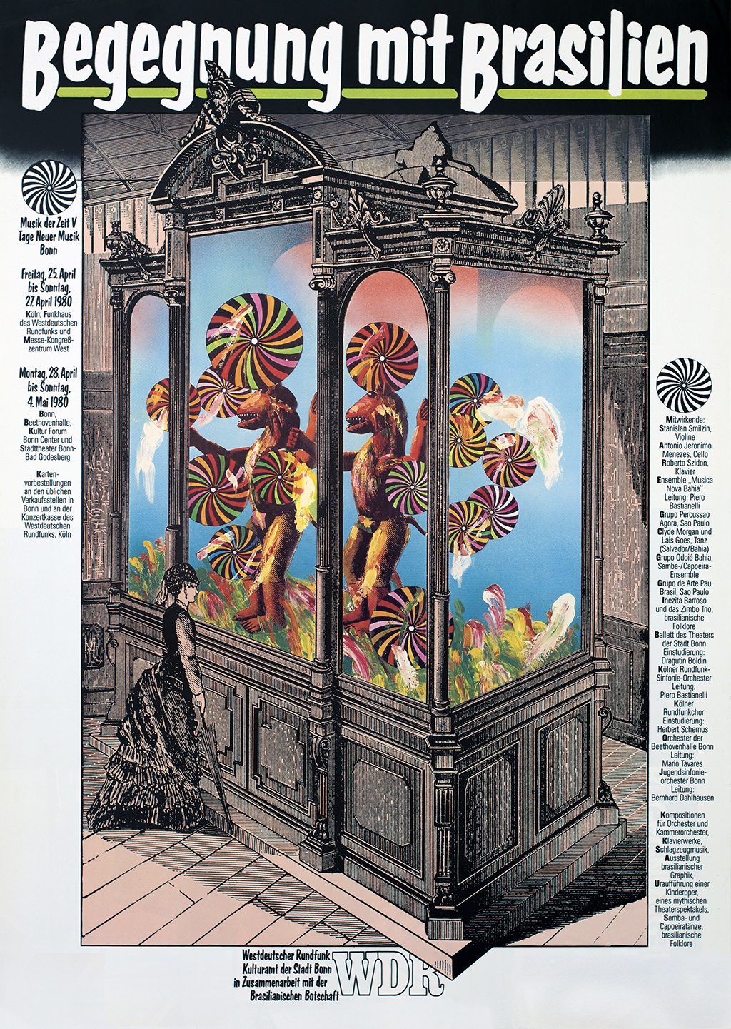 Collage of a black-and-white nineteenth-century woman looking into a large glass cabinet with colorful pinwheels and anthropomorphic animal statutes.