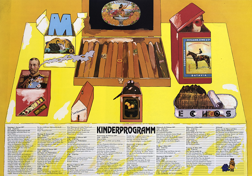 Illustration and collage of a yellow table with quirky objects on top of it, including a box of cigars, boxes with German figures popping out of them and anchovies.