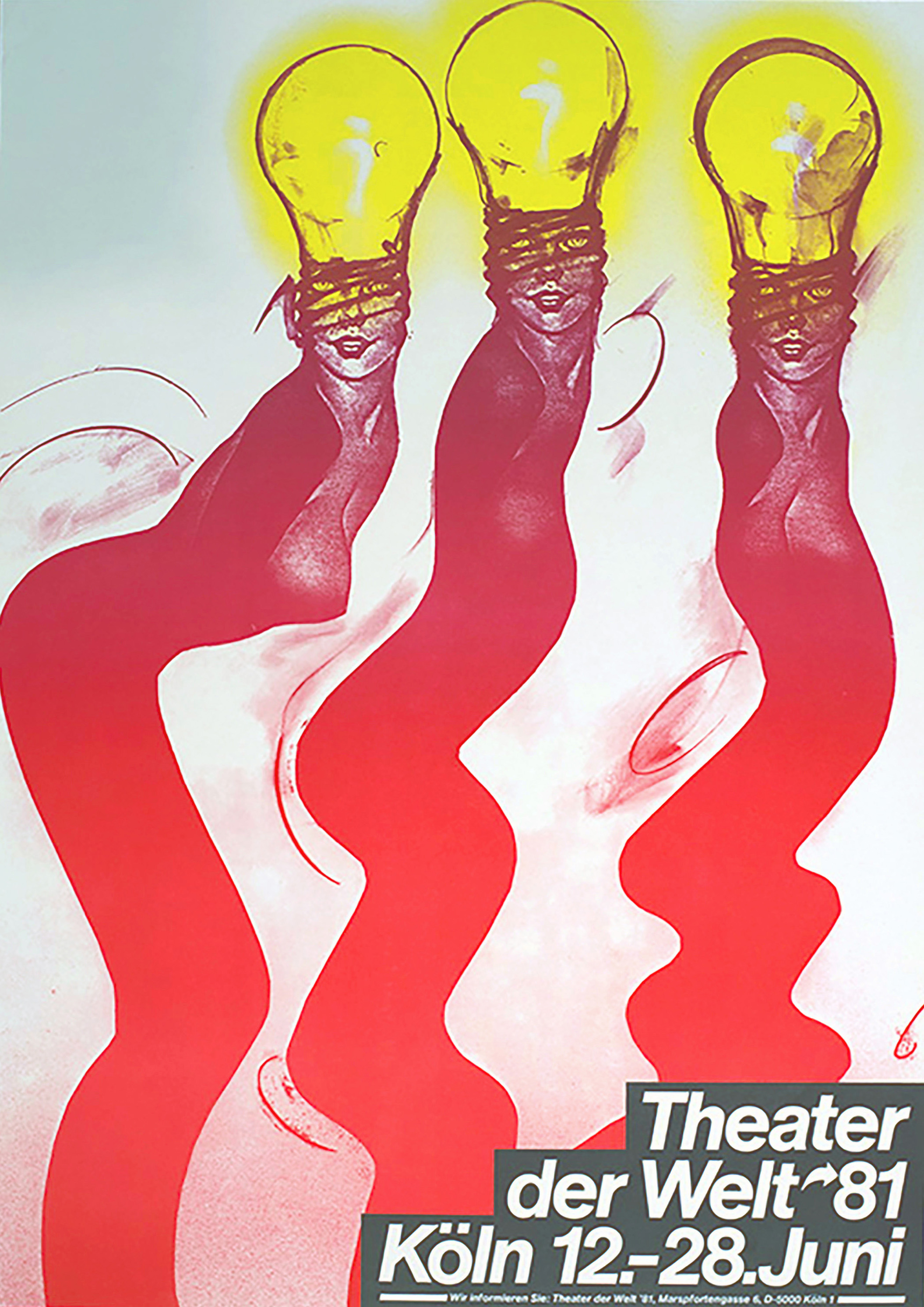 Three wavy red columns, topped by women's faces which merge with the threads of the three yellow light bulbs on top of their heads.