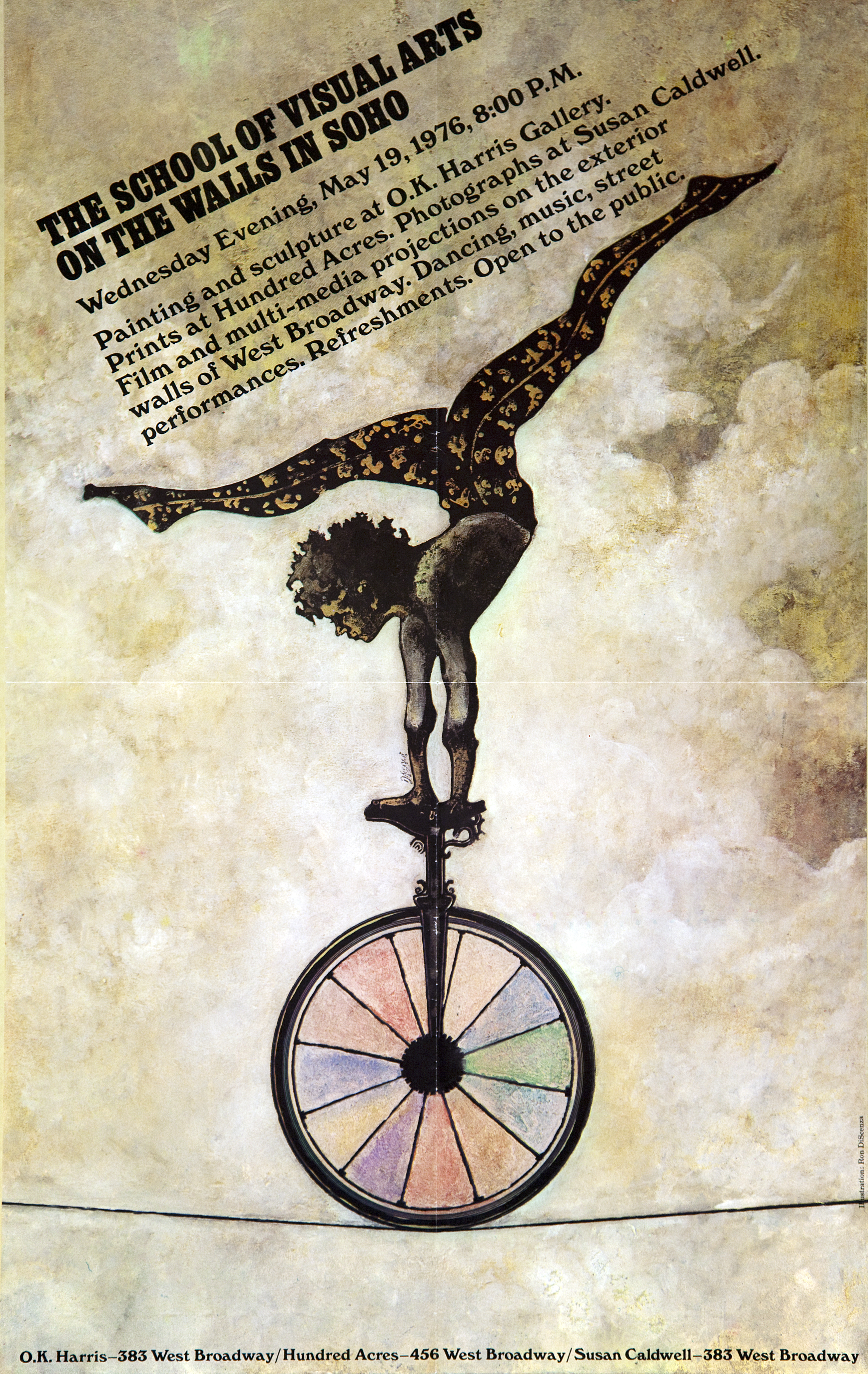 Exhibition poster with an illustration of a dark figure doing a handstand on a unicycle which is balanced on a tightrope.