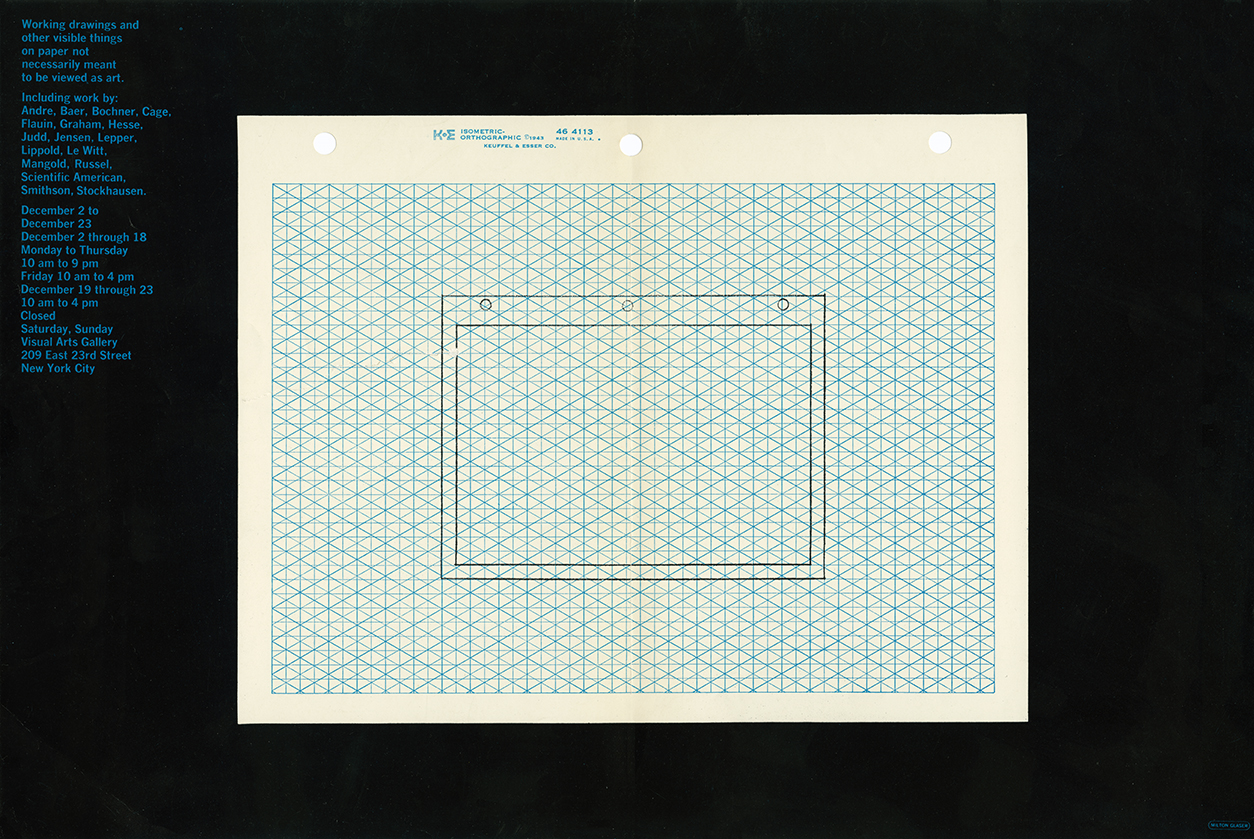 Exhibition poster with a drawing of a sheet of three-holed isometric orthographic paper on an actual sheet of three-holed isometric orthographic paper.