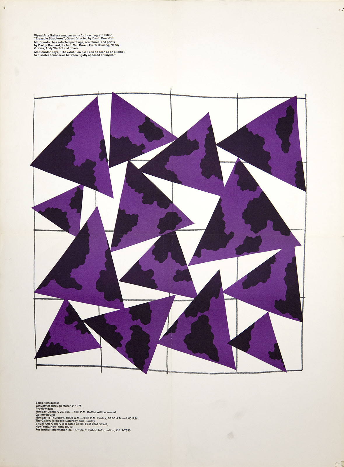 Exhibition poster with a collection of purple triangles with dark splotches on a white background, mounted askew on a rough, hand-drawn grid.
