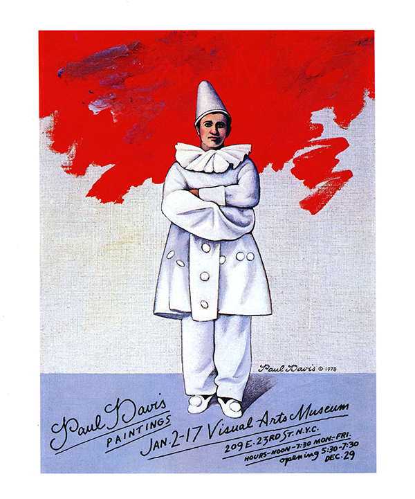 Exhibition poster with a painting of a pierrot figure with arms crossed against a red, white and blue background.