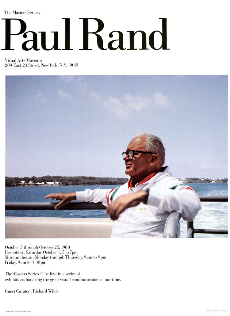 Exhibition poster with a color photograph of Paul Rand on a boat.
