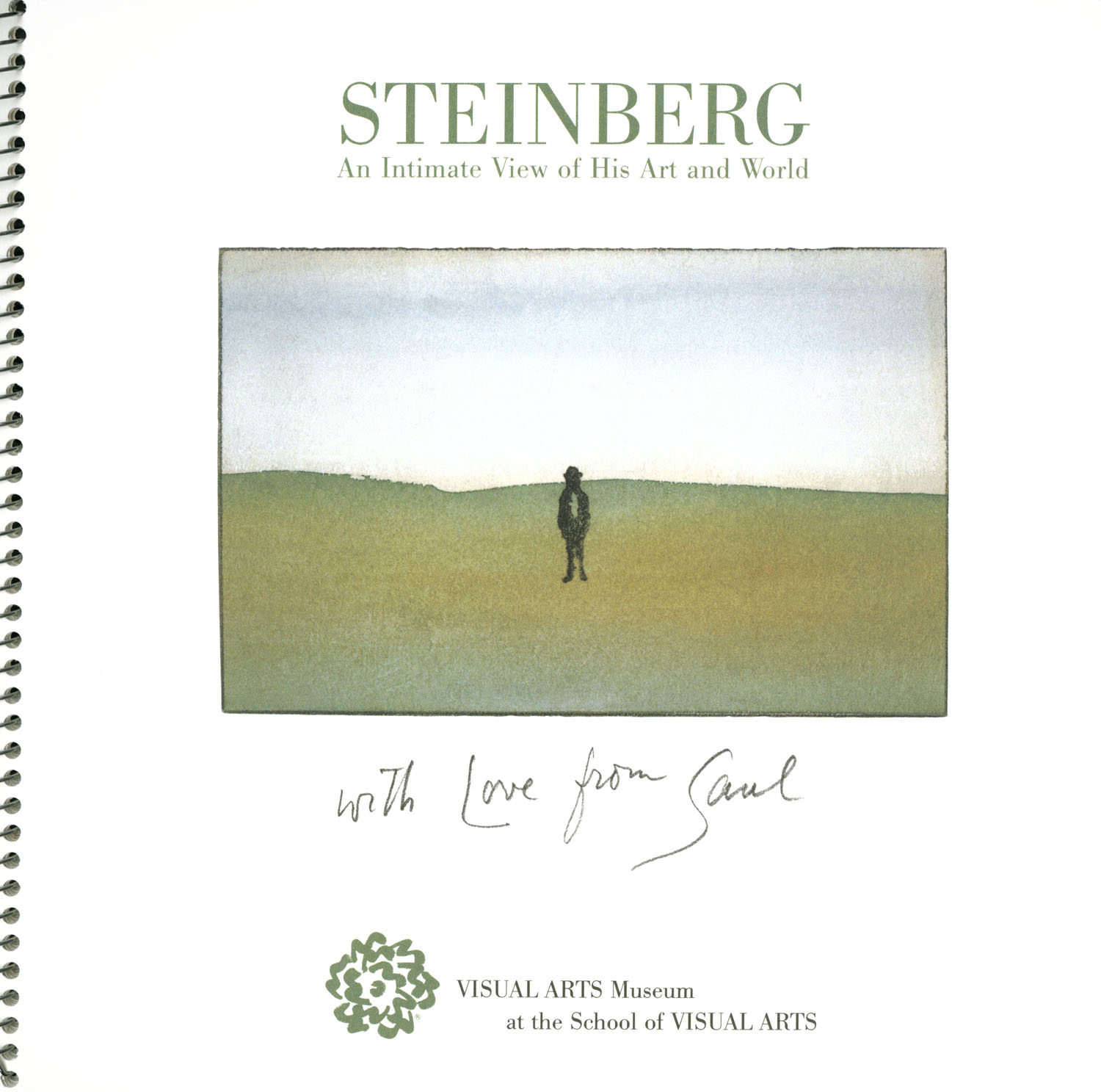 "Cover of spiral-bound booklet with a small watercolor illustration showing a distant person in a meadow, with the words ""with Love for Saul"" handwritten below."