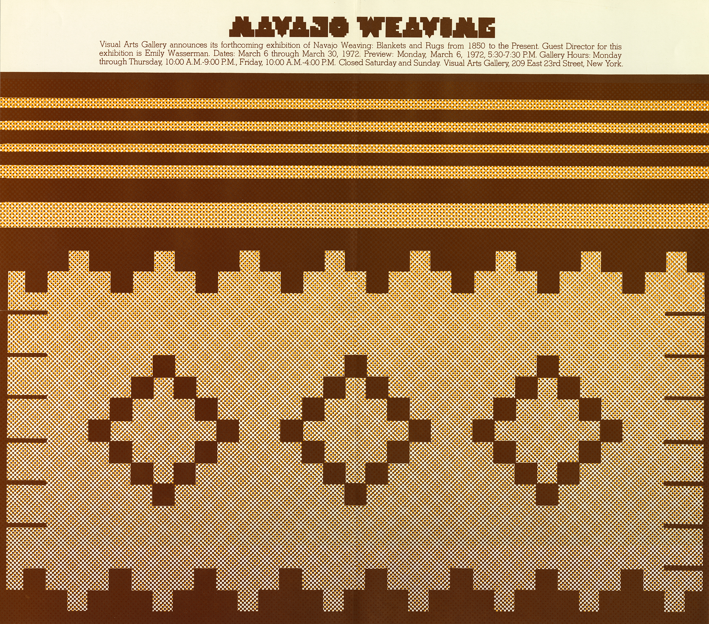 Exhibition poster with a brown and yellow a triangular pattern in the Navajo weaving tradition.
