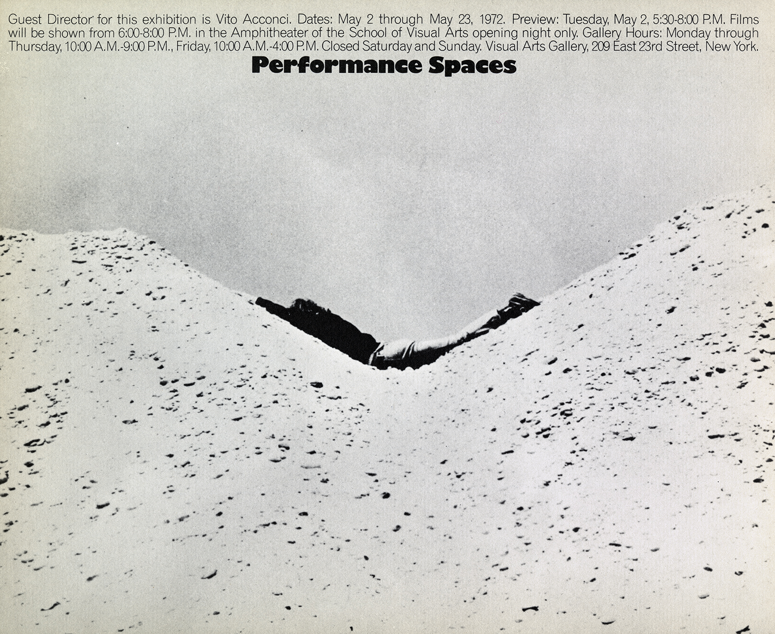 Exhibition poster with a black and white photograph of a person laying face down between two piles of dirt.