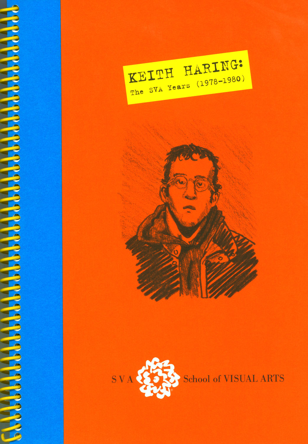Photograph of a red, yellow and blue composition notebook. On the cover is a pencil drawing of Keith Haring.