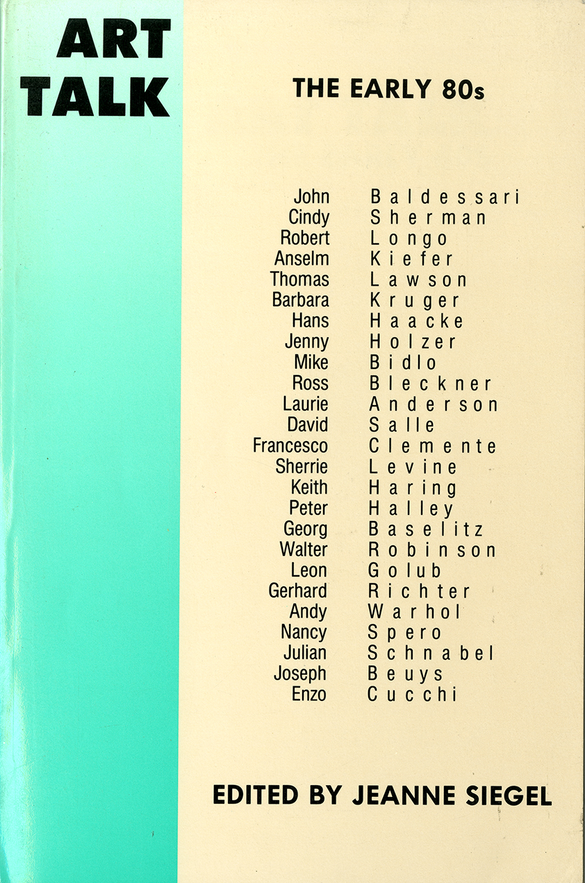Book cover, black text against teal and tan background listing featured artists.