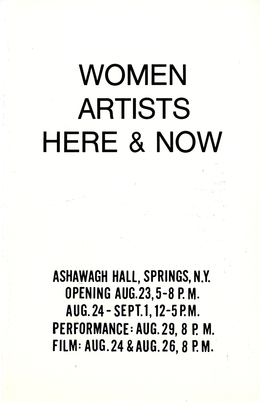 "Black text, ""Women Artists Here & Now,"" against white background listing opening and duration."
