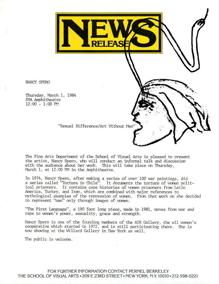 "News Release for Nancy Spero's ""Sexual Difference/Art without Men,"" with a line drawing of a female head with a snake growing its forehead."