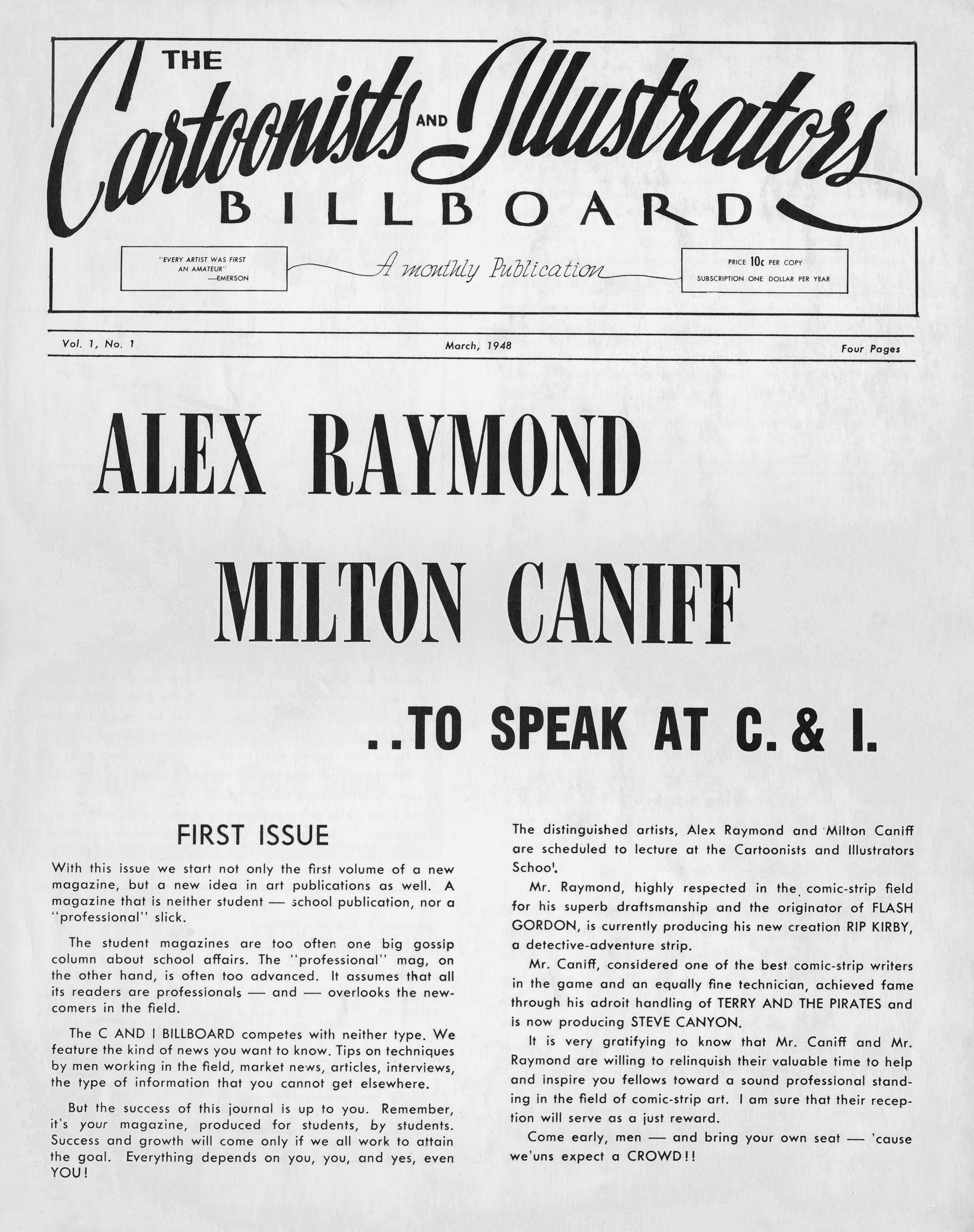 "Black and white newspaper page, reading: ""Alex Raymond, Milton Caniff to speak at C & I."""