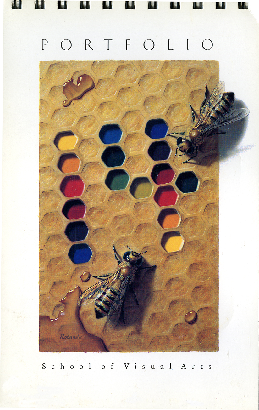 "Realistic illustration of bees on honeycomb. Segments of the honeycomb are filled with paint colors, arranged to spell out the number ""14."""
