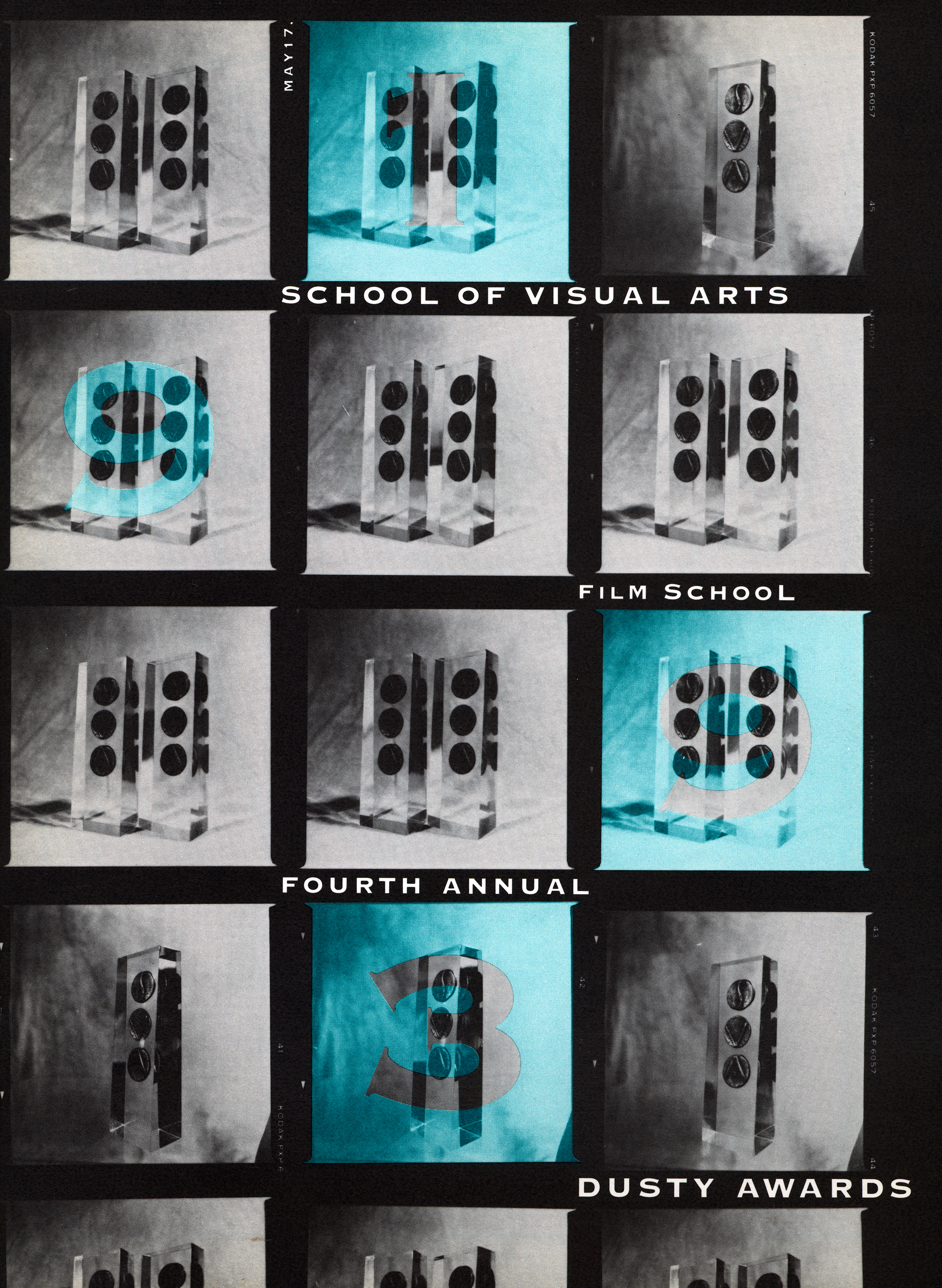 "A grid of black-and-white photographs of Dusty Awards trophies. The numbers of ""1993"" are superimposed over some of the boxes in teal."