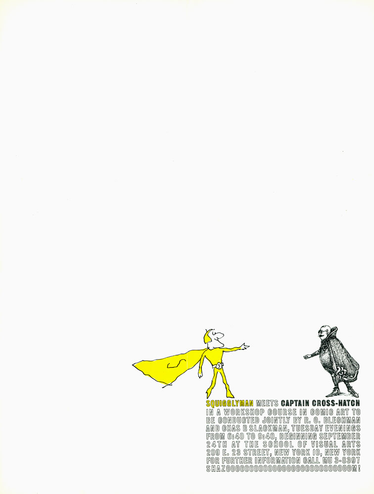 A white poster with a small block of text in the lower right. Two small superheroes, one in yellow and one in black, stand on top of it and gesture toward each other.