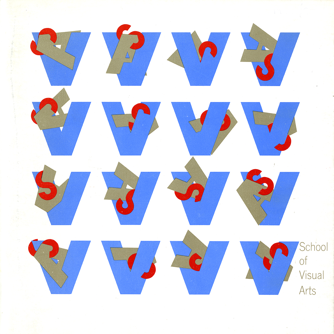 "Large blue capital ""V""s arranged in a four-by-four grid. A red ""S"" and a gray ""A"" are hung on each ""V"" in various arrangements. At the bottom right corner, in gray in four lines, is the text, ""School of Visual Arts."""