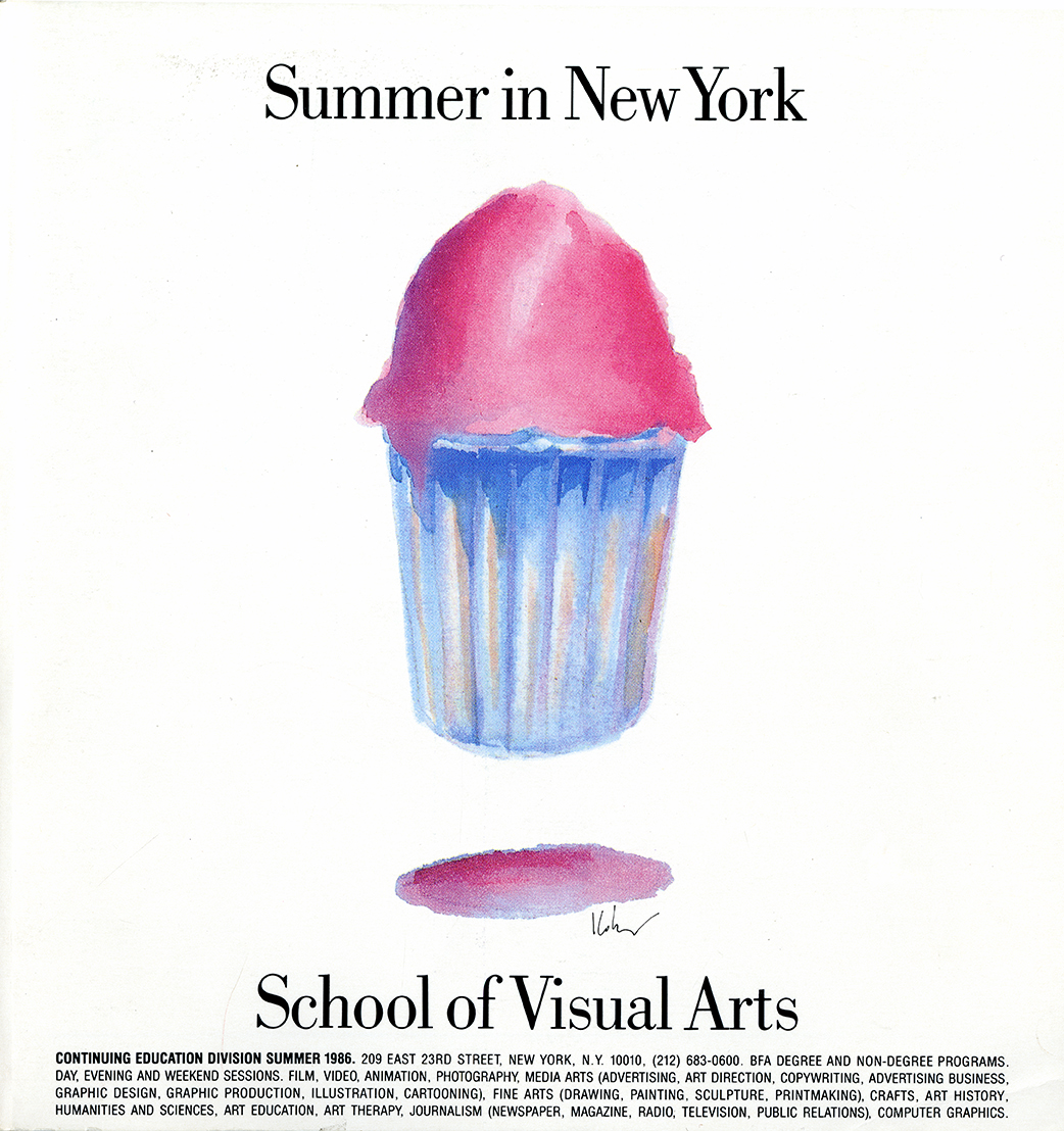 "A watercolor illustration of a hovering, pink Italian ice in a paper cup against a white background, in between lines of black text. Top text reads ""Summer in New York""; bottom text is ""School of Visual Arts."""