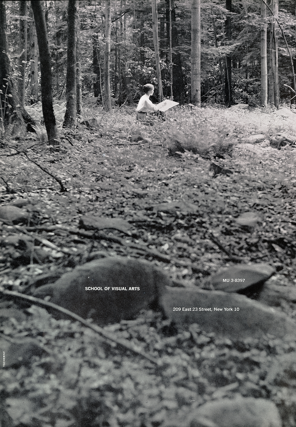 A black and white photograph of a distant woman drawing in a forest.