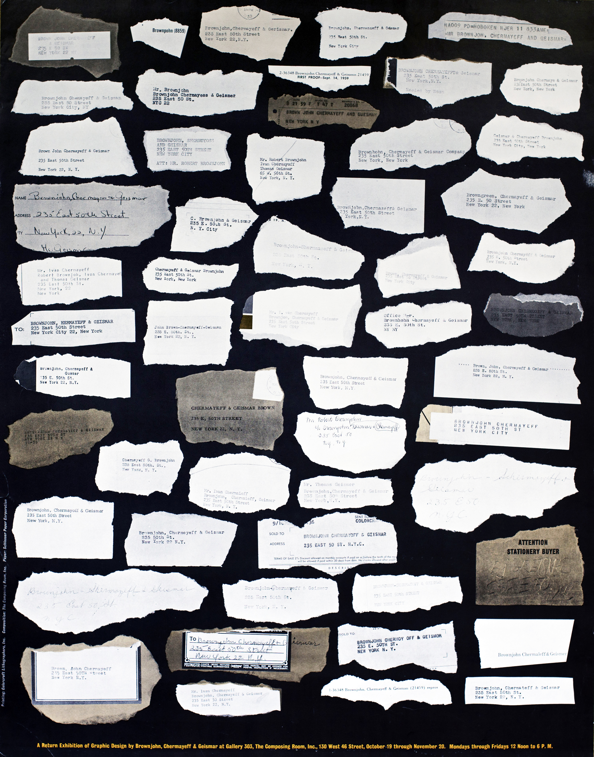 Photograph of a collection of torn paper containing Brownjohn, Chermayeff and Geismar's address.