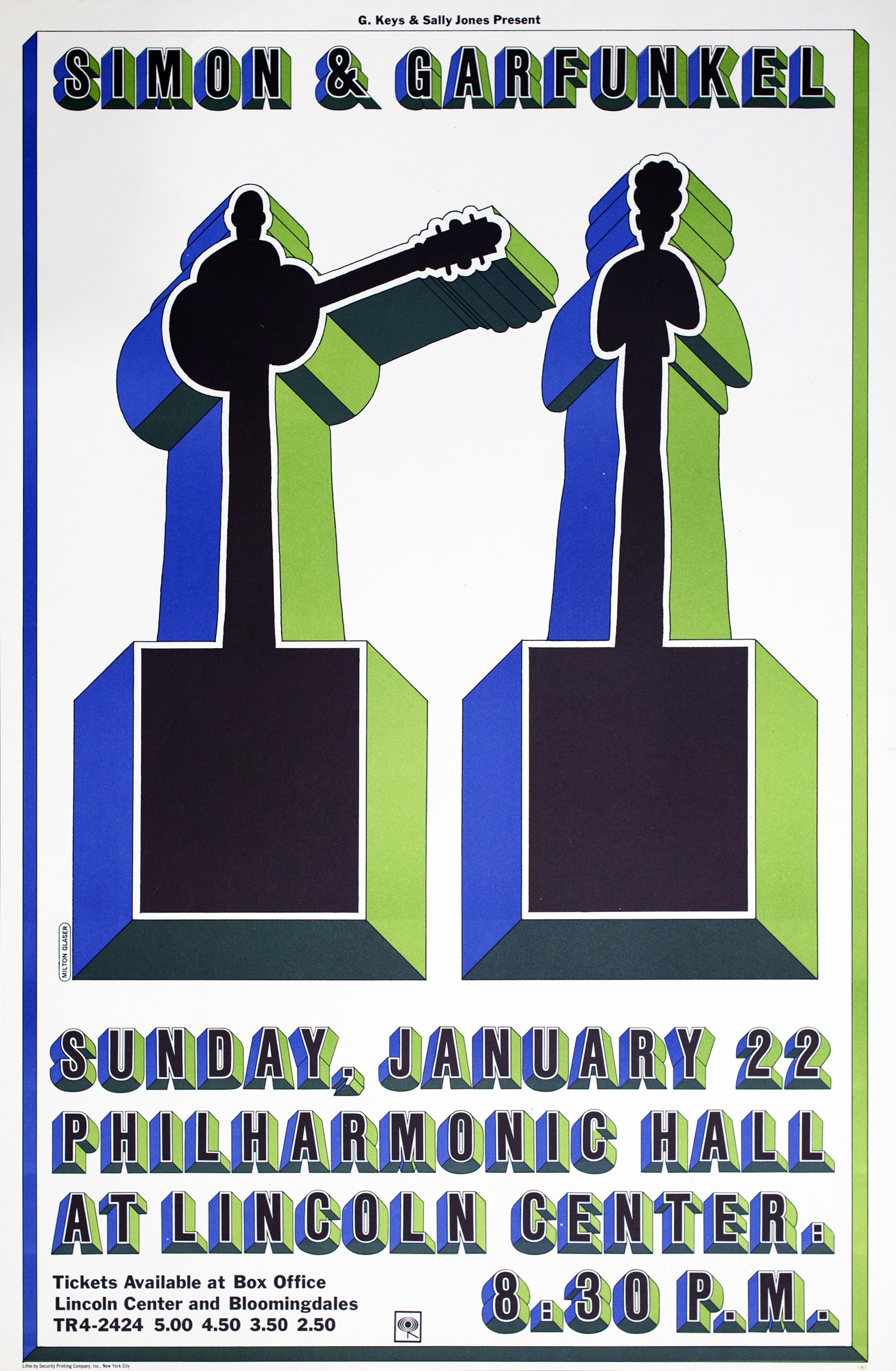 Two three-dimensional silhouettes in black with green and blue sides, one holding a guitar.