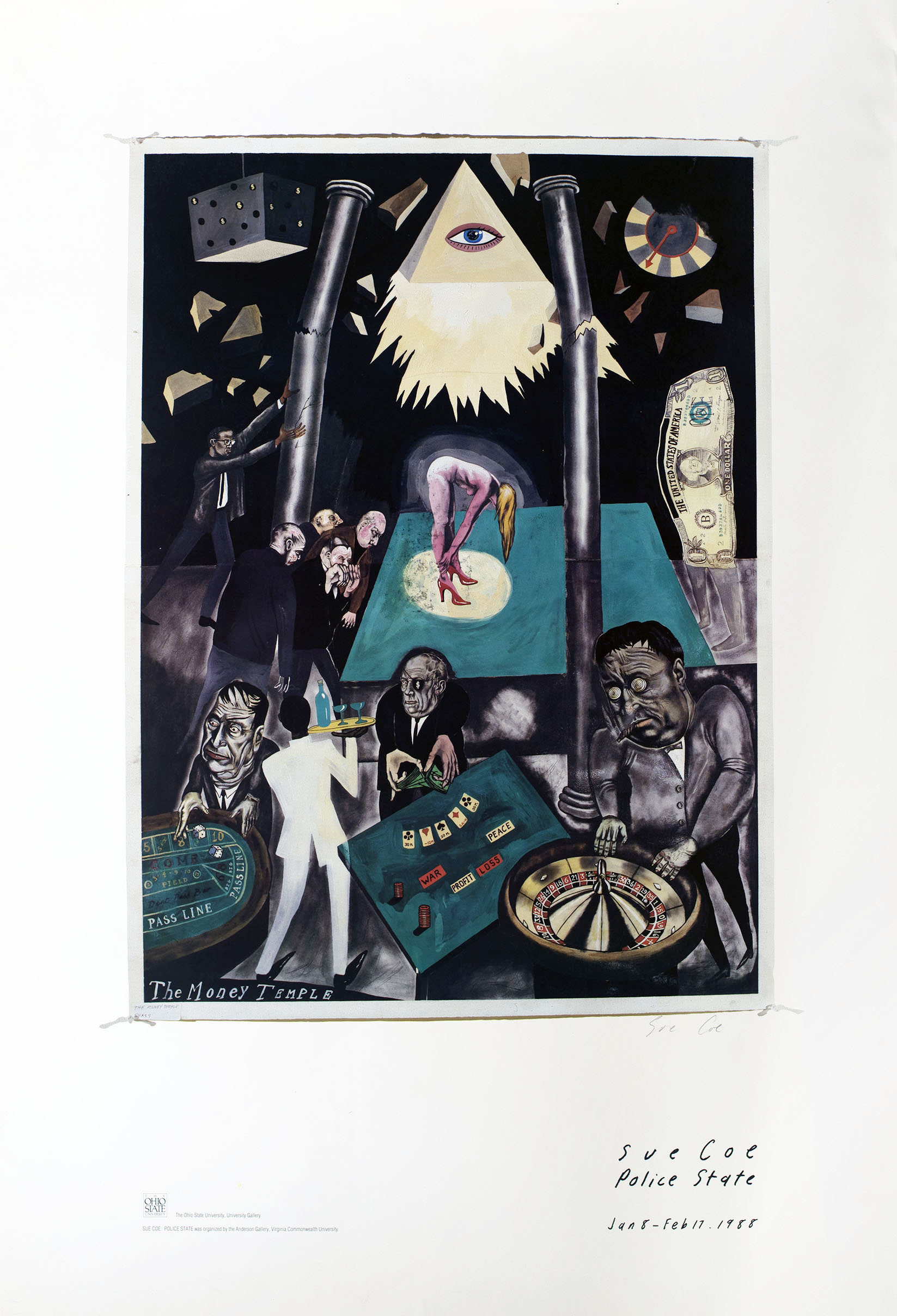 Exhibition poster showing a surreal illustration of the interior of a strip club, where a woman on a stage in red heels is lit from above by the triangular Eye of Providence. Men gamble in the foreground. The figure of Malcolm X stands in the background pushing over a column.