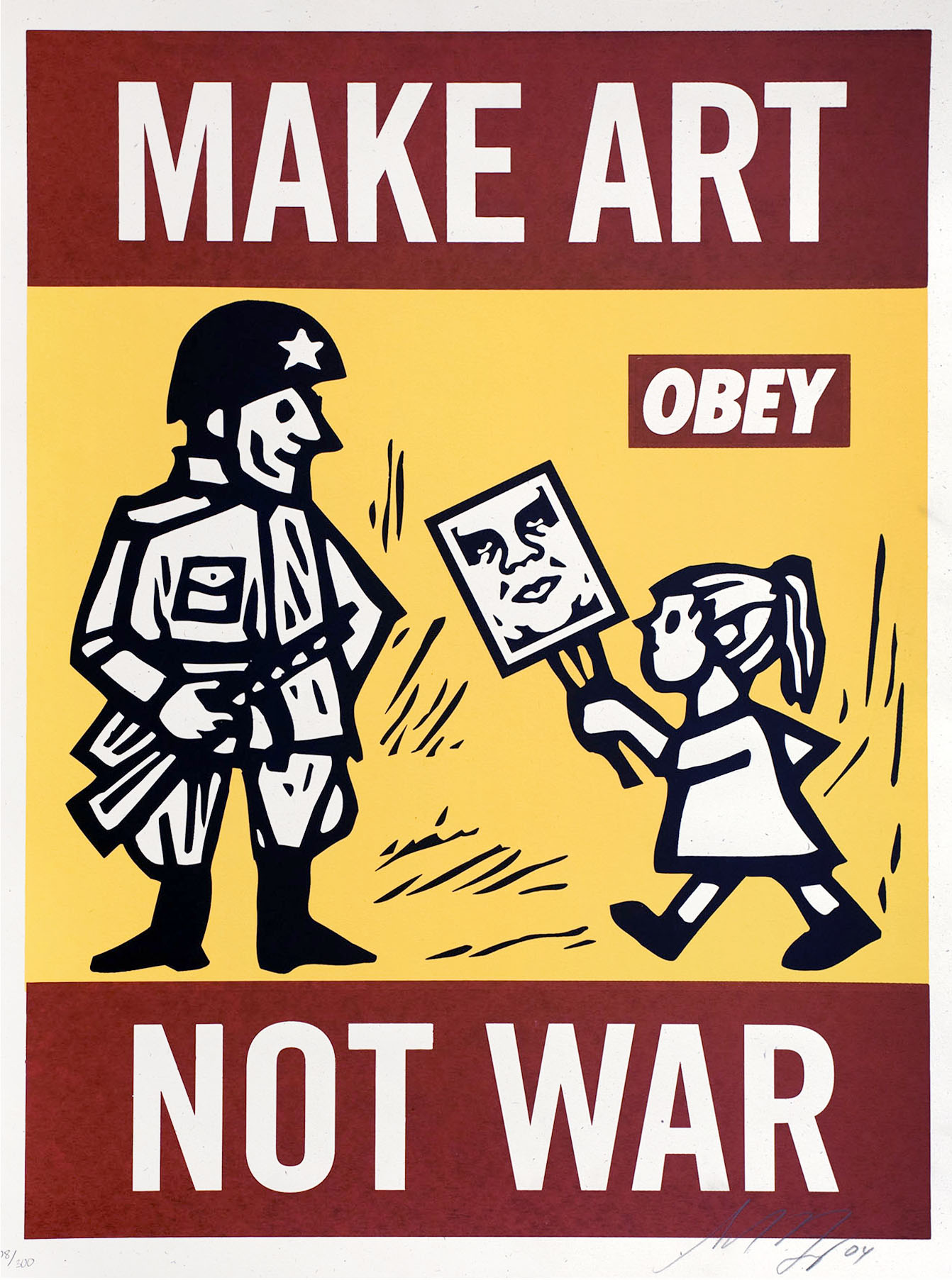 "Silkscreen print of a cartoon soldier and a little girl holding a sign of the OBEY giant. Large letters spell out ""Make Art Not War."""