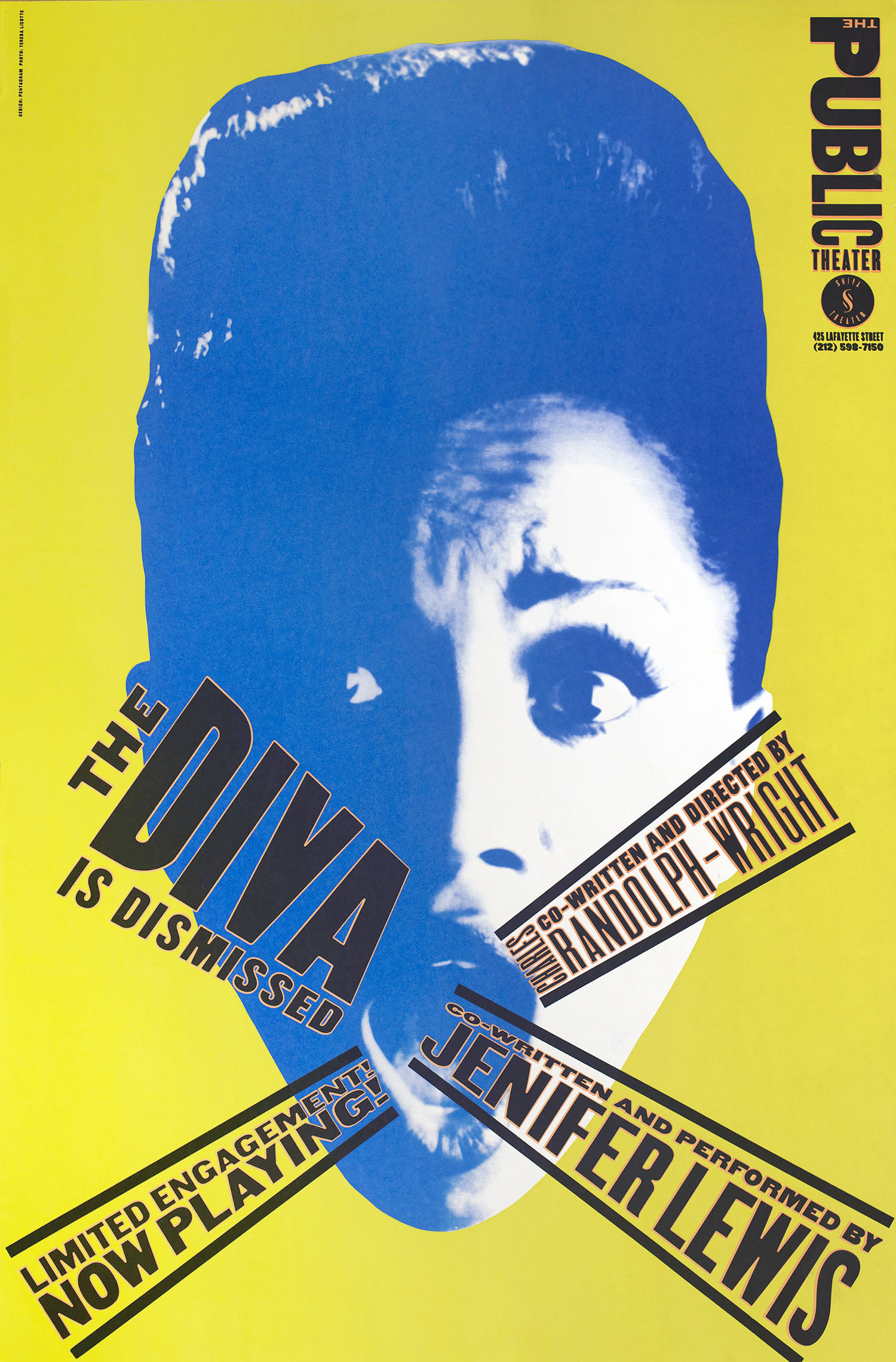 Poster with a blue-and-white photograph of a woman with a beehive hairdo, eyes and mouth opened wide. The supplementary text is arranged as to emanate from her mouth.