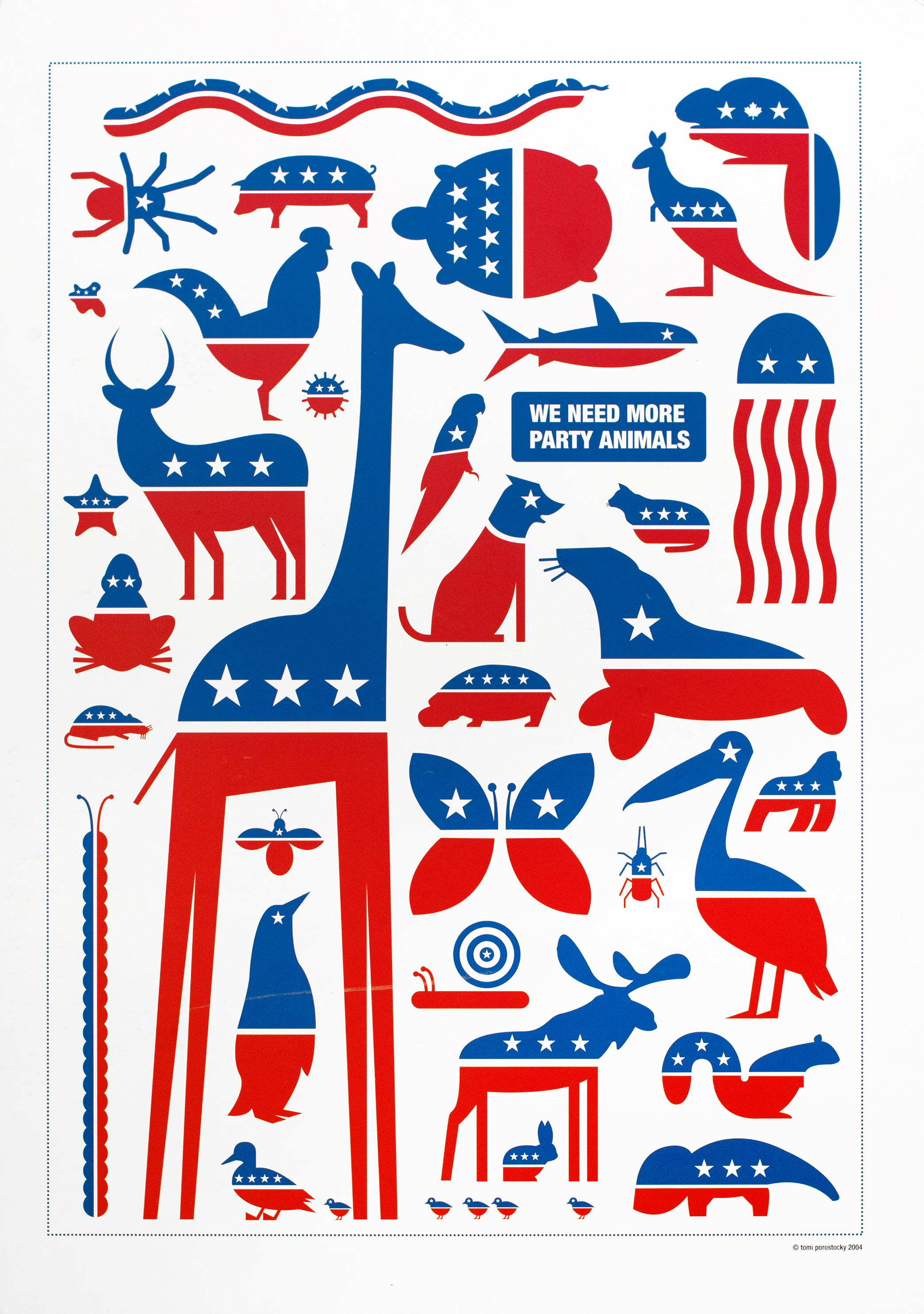 A menagerie of different animals arranged against a white background. All animals are red and blue with white stars, invoking the symbols of the Democratic and Republican parties.