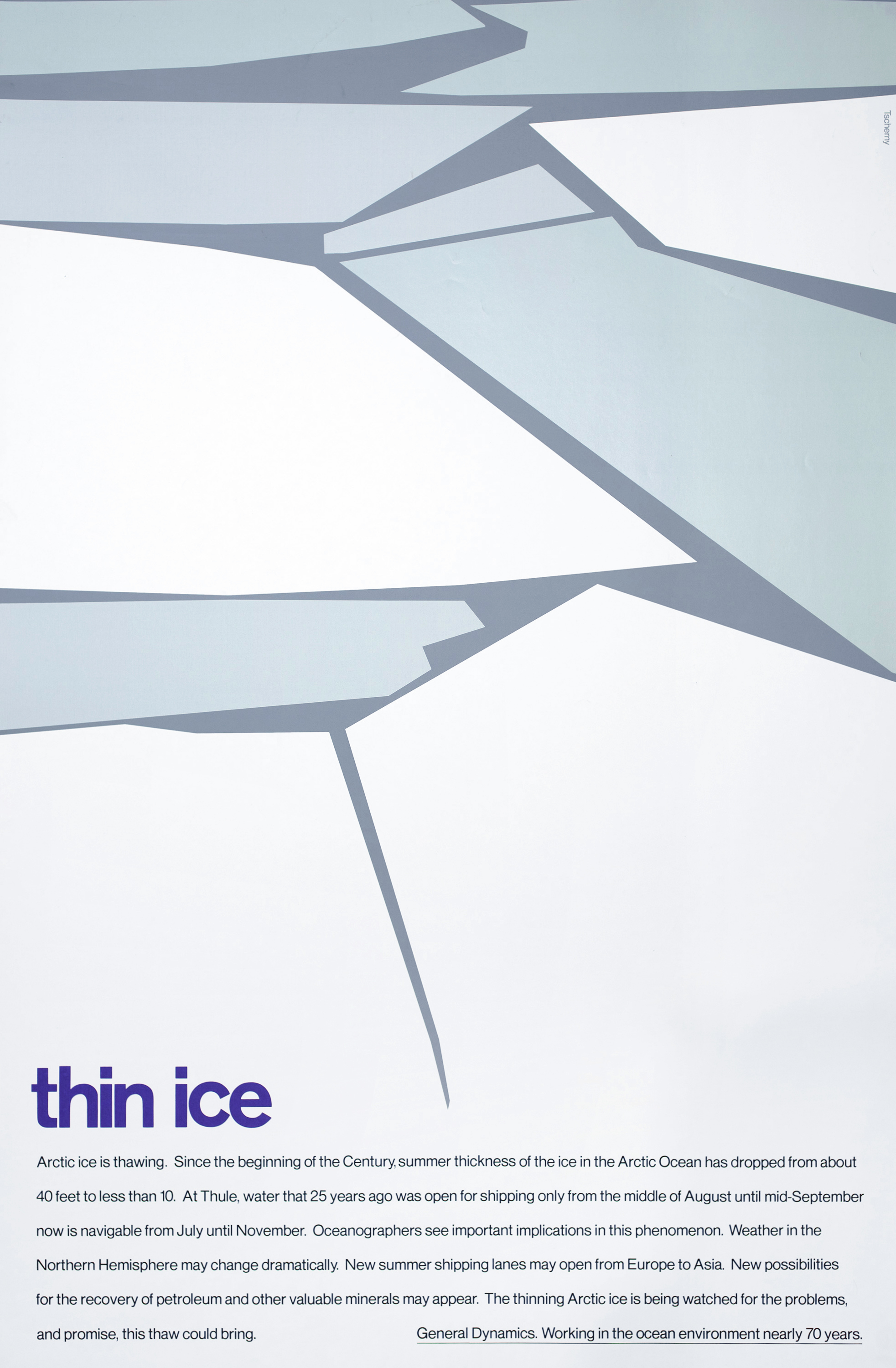 "Simple, abstract blue and white shapes suggesting ice floes with the title, ""thin ice"" below in purple along with a paragraph of supplementary text."