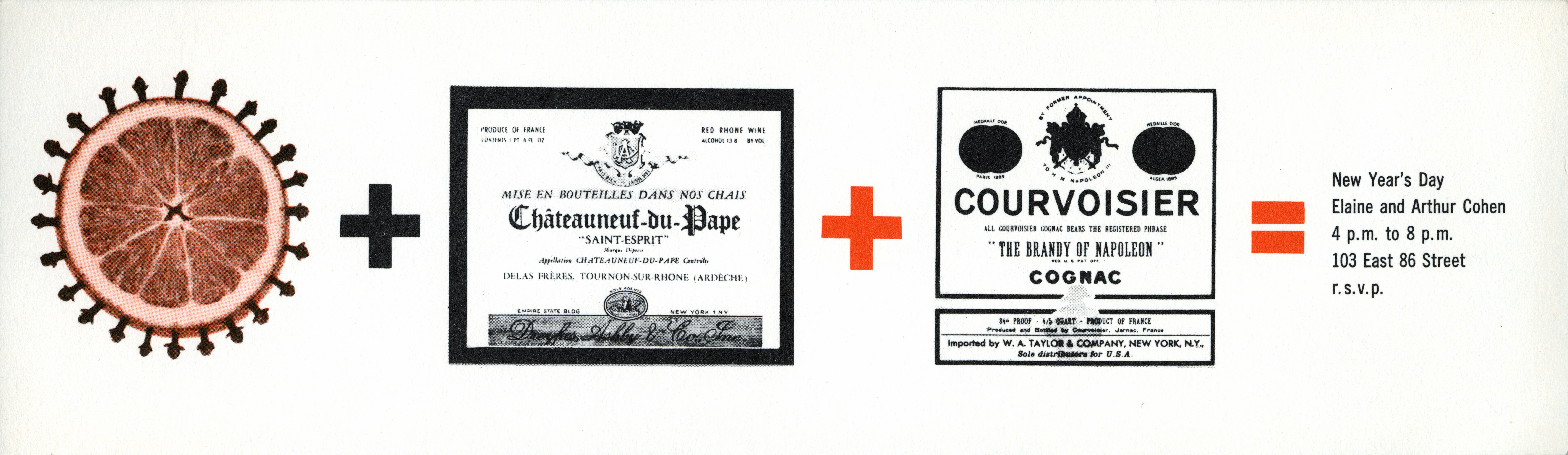 A long white card depicting dried orange slice studded with cloves, a plus sign, a wine label, an plus sign, a Courvoisier cognac label, an equals sign, time and location of party