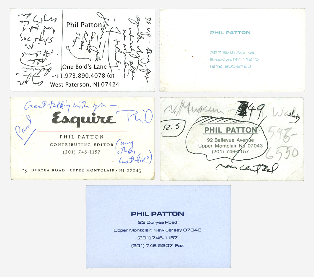 Various business cards for Phil Patton