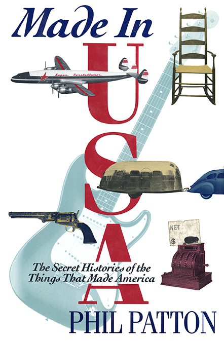 "Cover of book featuring various ""American"" objects: commercial airplane, revolver, guitar, shaker rocking chair, airstream mobile home, cash register."
